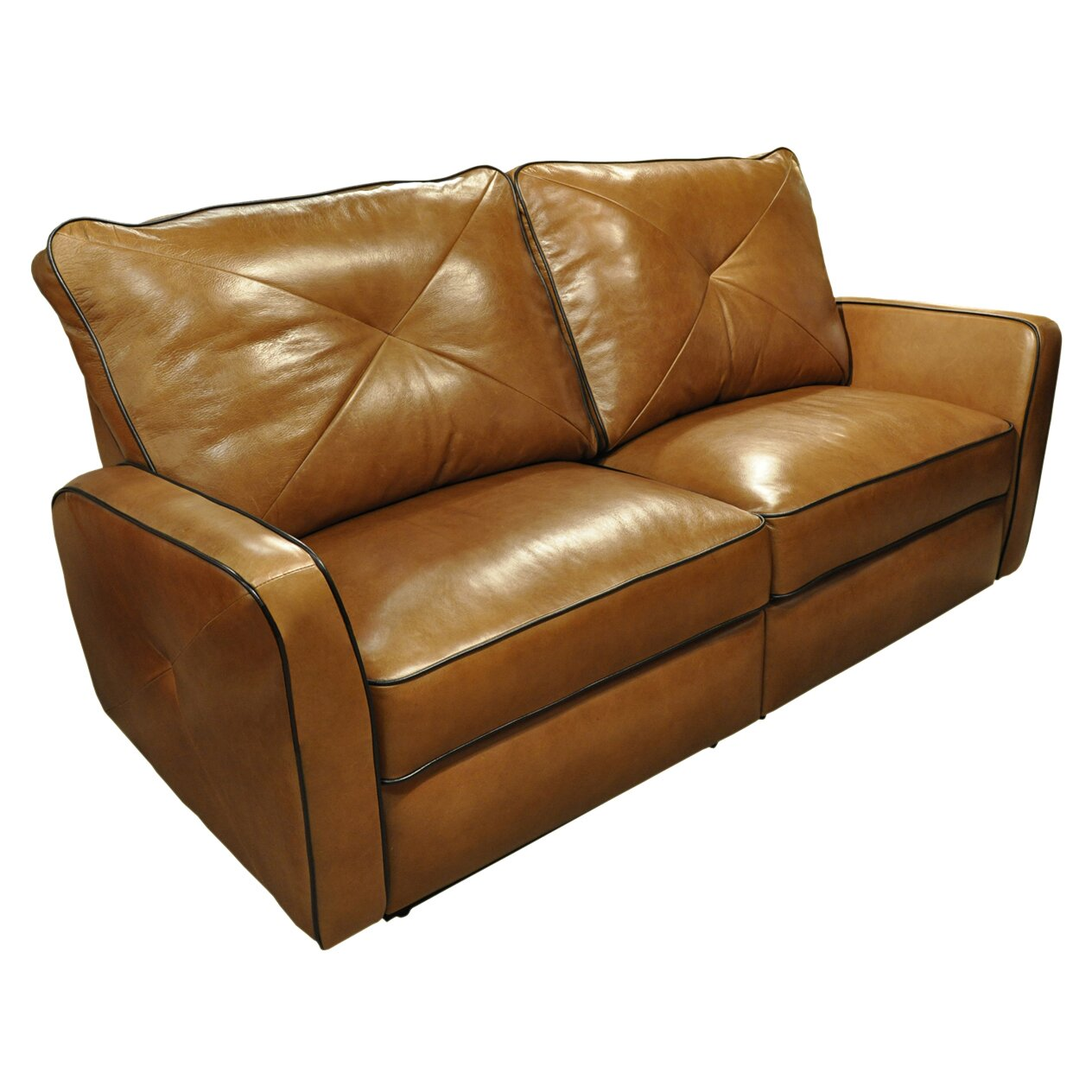 Omnia leather bahama leather reclining loveseat reviews for Leather reclining sofa