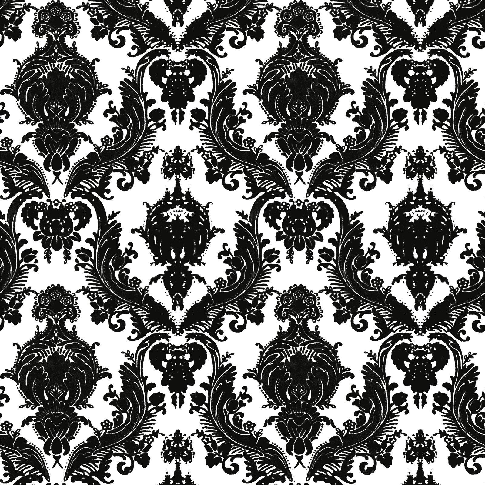 """Tempaper Wallpaper: Tempaper Damsel Temporary 33' X 20.5"""" Damask Foiled"""