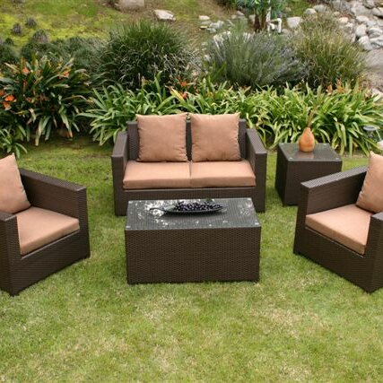 AIC Garden Casual Metro 5 Piece Deep Seating Group With Cushions