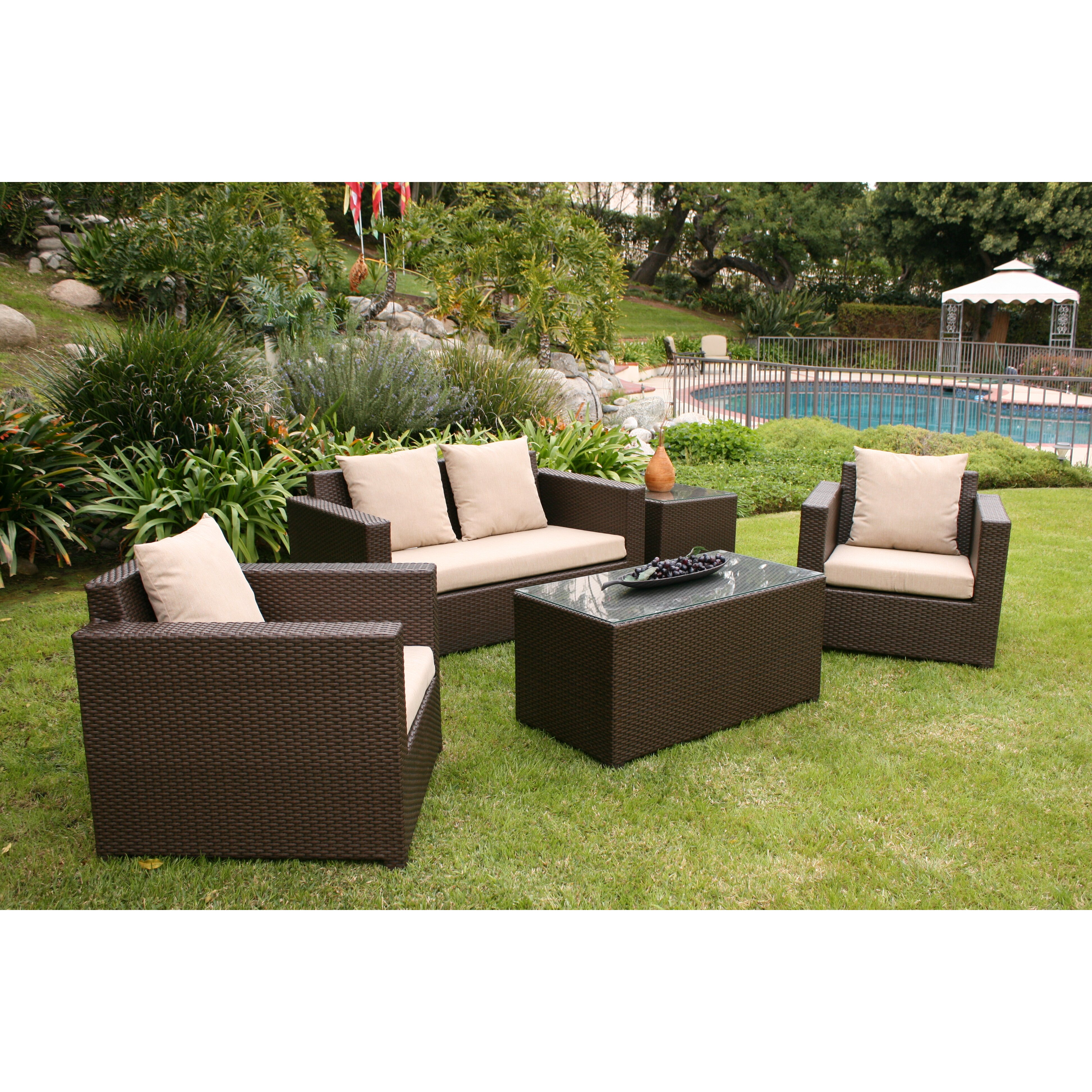 Aic Garden Casual Metro 5 Piece Deep Seating Group With Cushions Reviews Wayfair