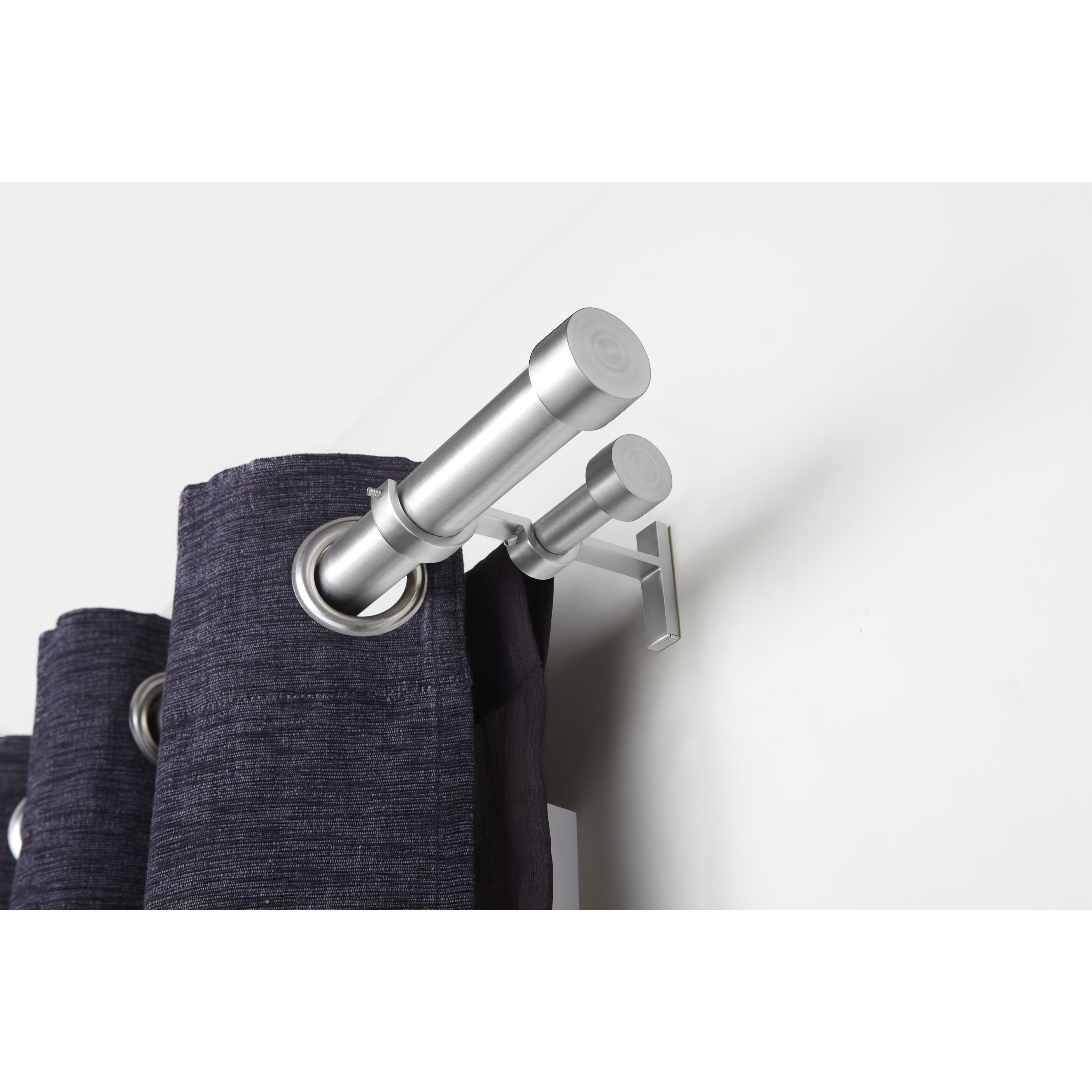 Umbra cappa solutions double curtain rod and hardware set for Curtain rods brackets accessories