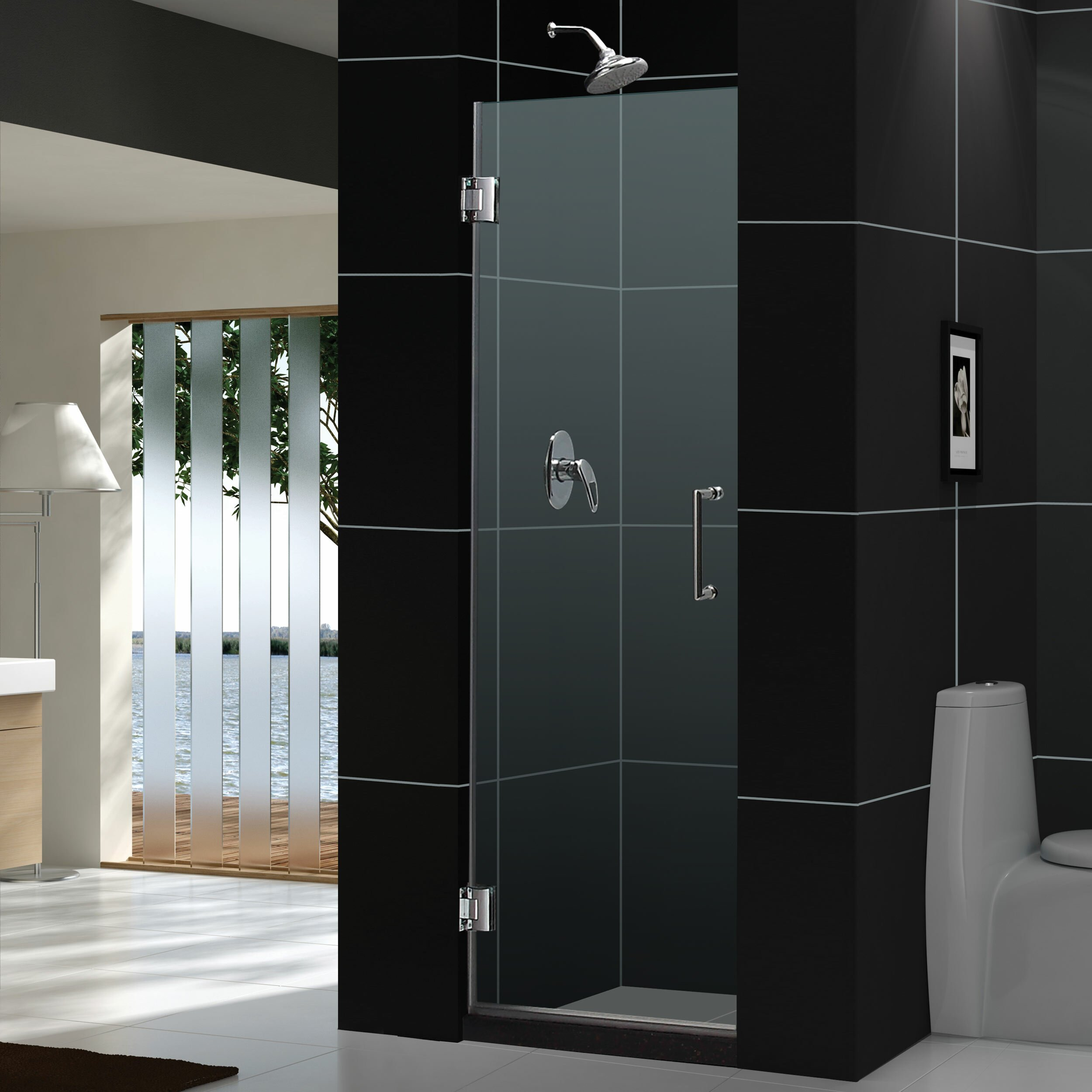 Dreamline Unidoor 72 Quot X 24 Quot Pivot Frameless Hinged Shower
