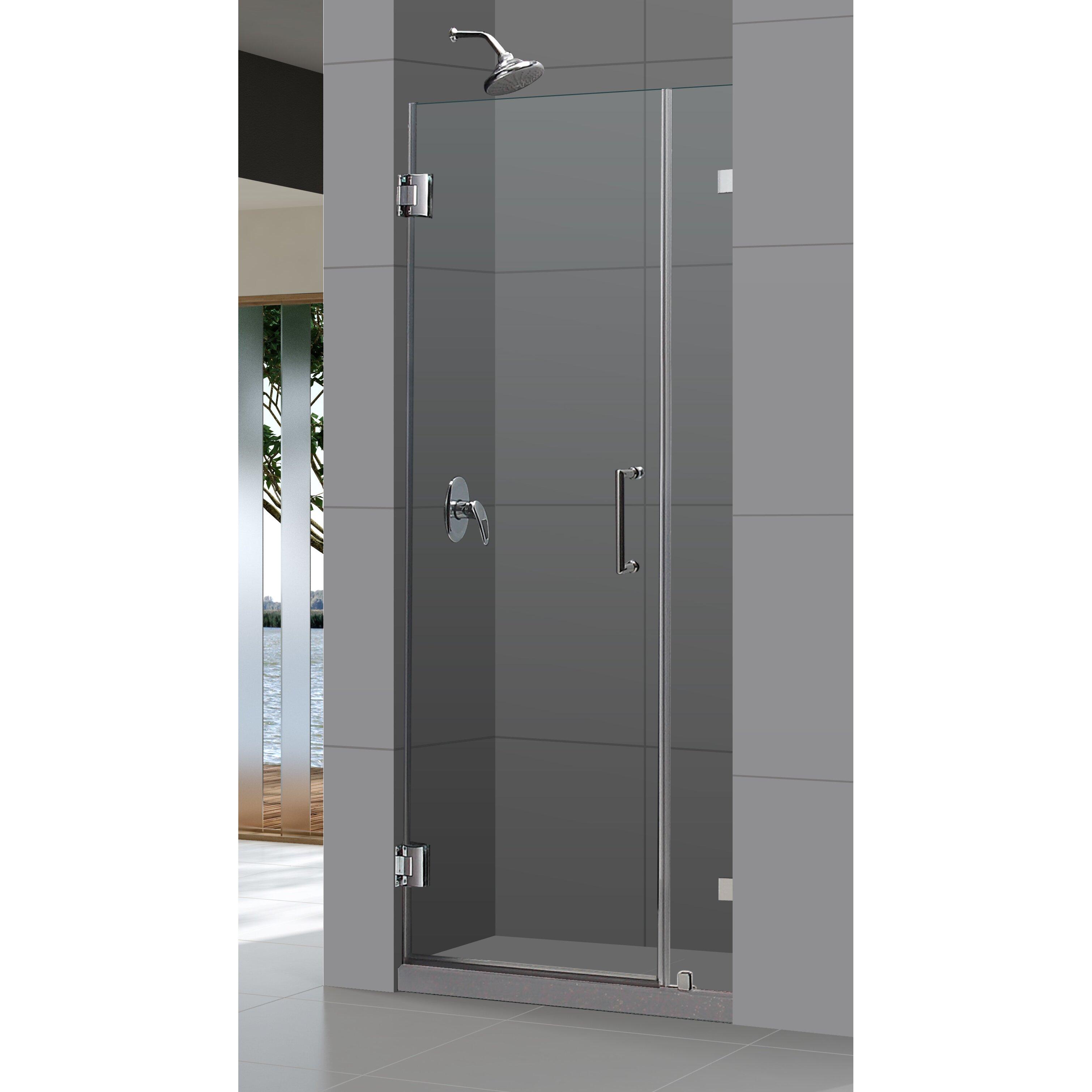 Clear Glass Hinged Shower Door : Dreamline unidoor lux quot pivot frameless hinged