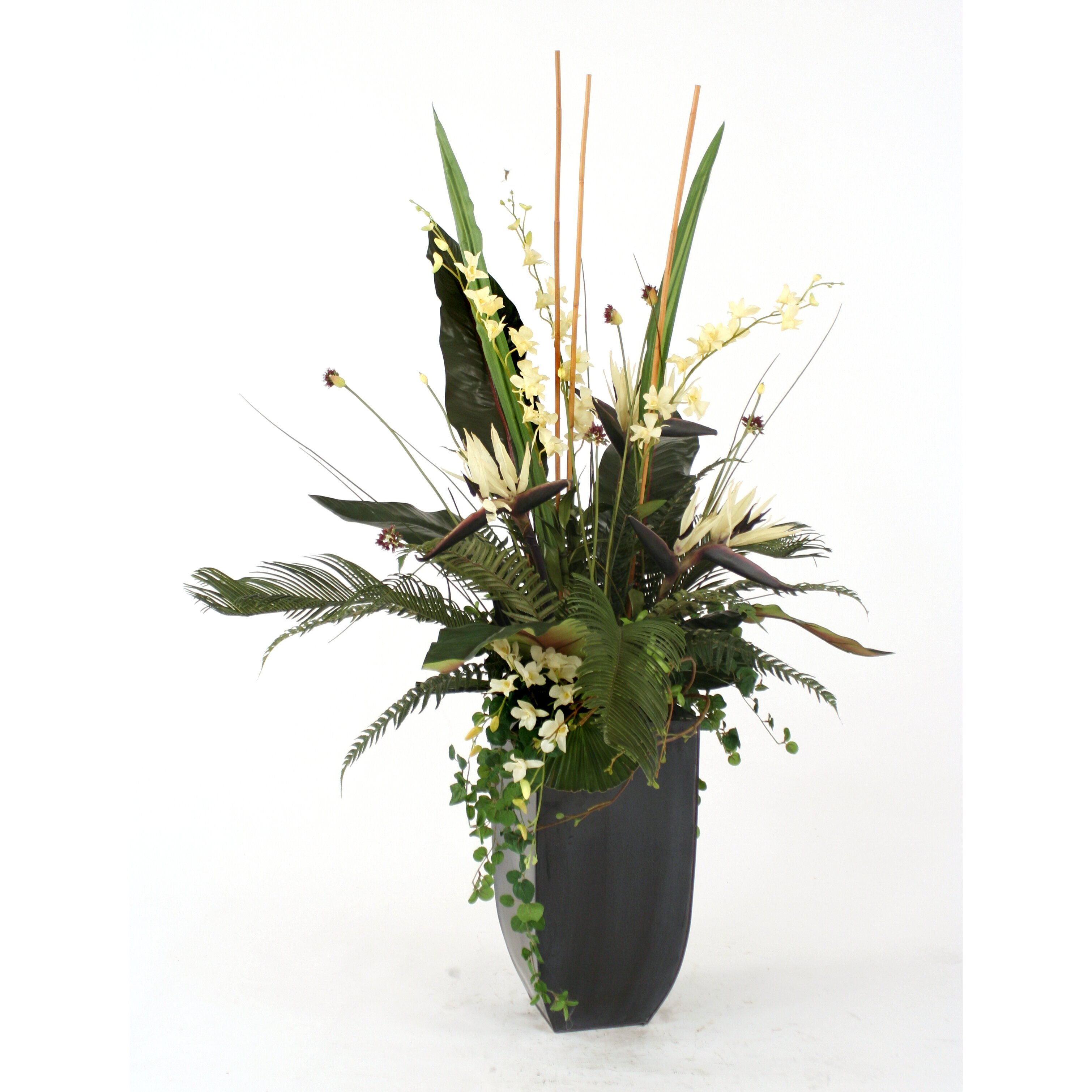 distinctive designs silk orchids bird of paradise palms and ferns in contempo planter wayfair. Black Bedroom Furniture Sets. Home Design Ideas