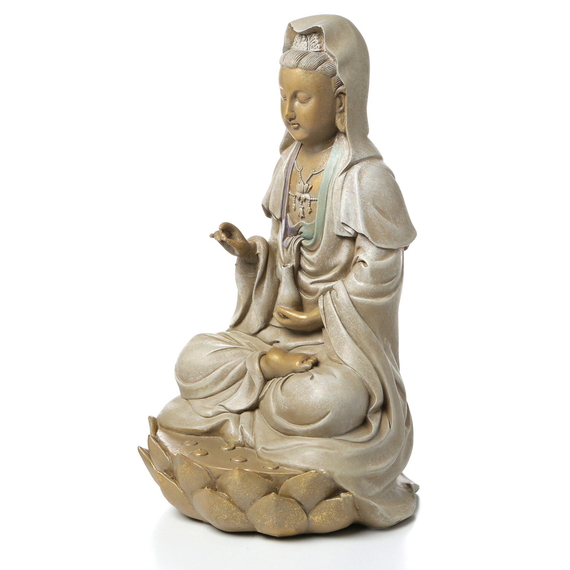 Design Toscano Goddess Guan Yin Seated On Lotus Statue