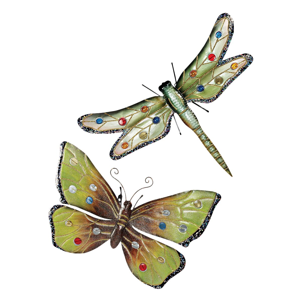 Design Toscano Dragonfly And Butterfly 2 Piece Wall Plaque
