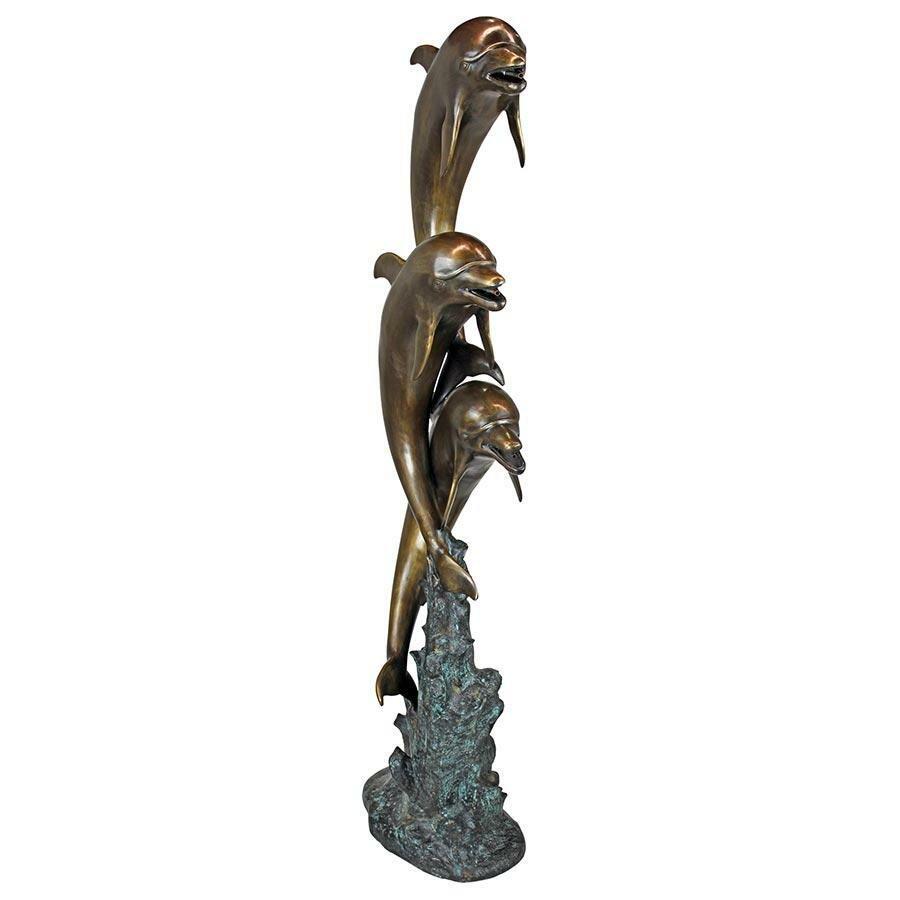 Design toscano triple leaping dolphins garden statue wayfair for Design toscano