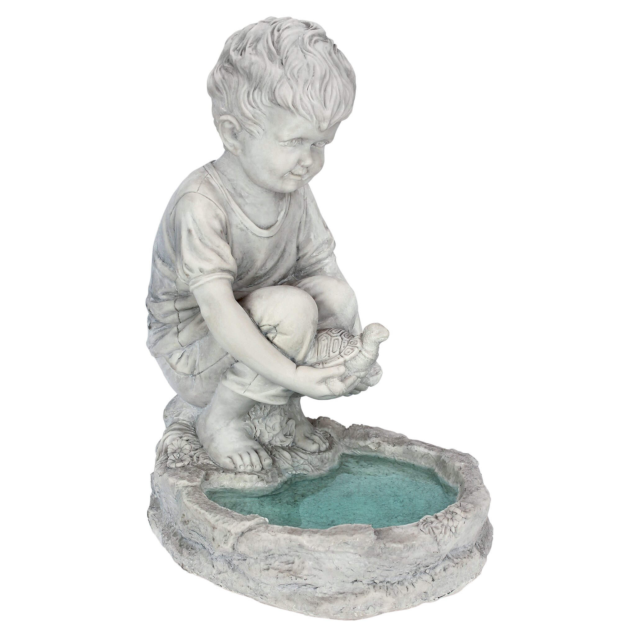 Stsatuette For Outdoor Ponds: Design Toscano Tommy At The Turtle Pond Little Boy Statue