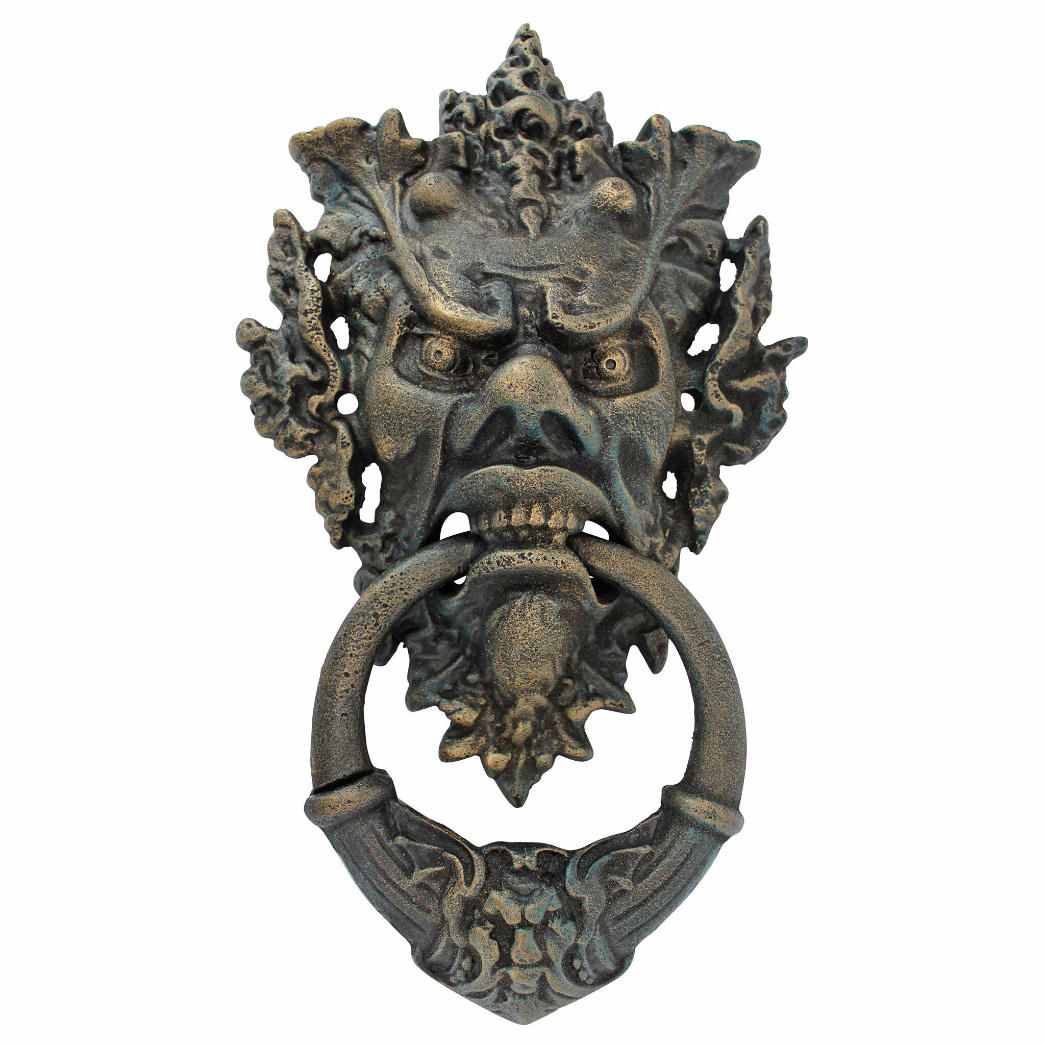 Design toscano vecchio greenman authentic iron door knocker reviews wayfair - Green man door knocker ...