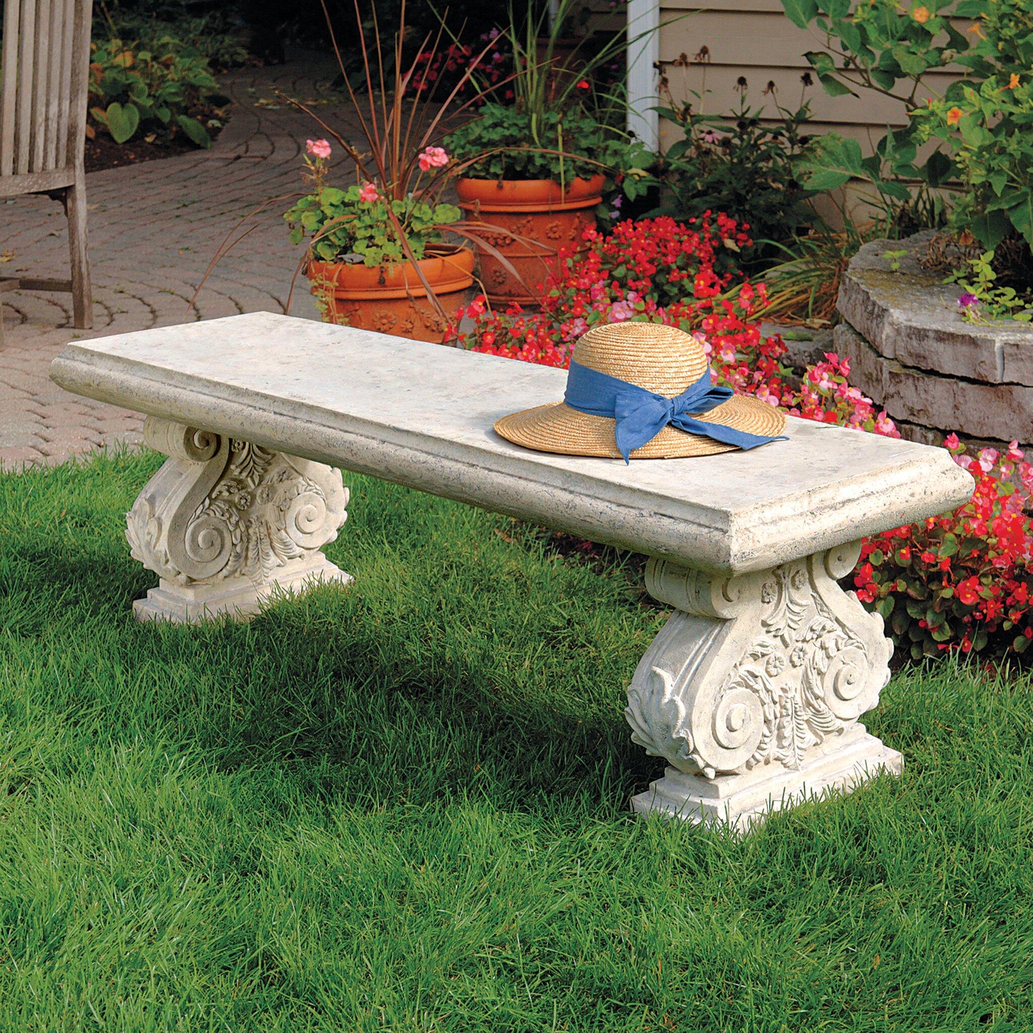 Design Toscano Stone Garden Bench Reviews Wayfair
