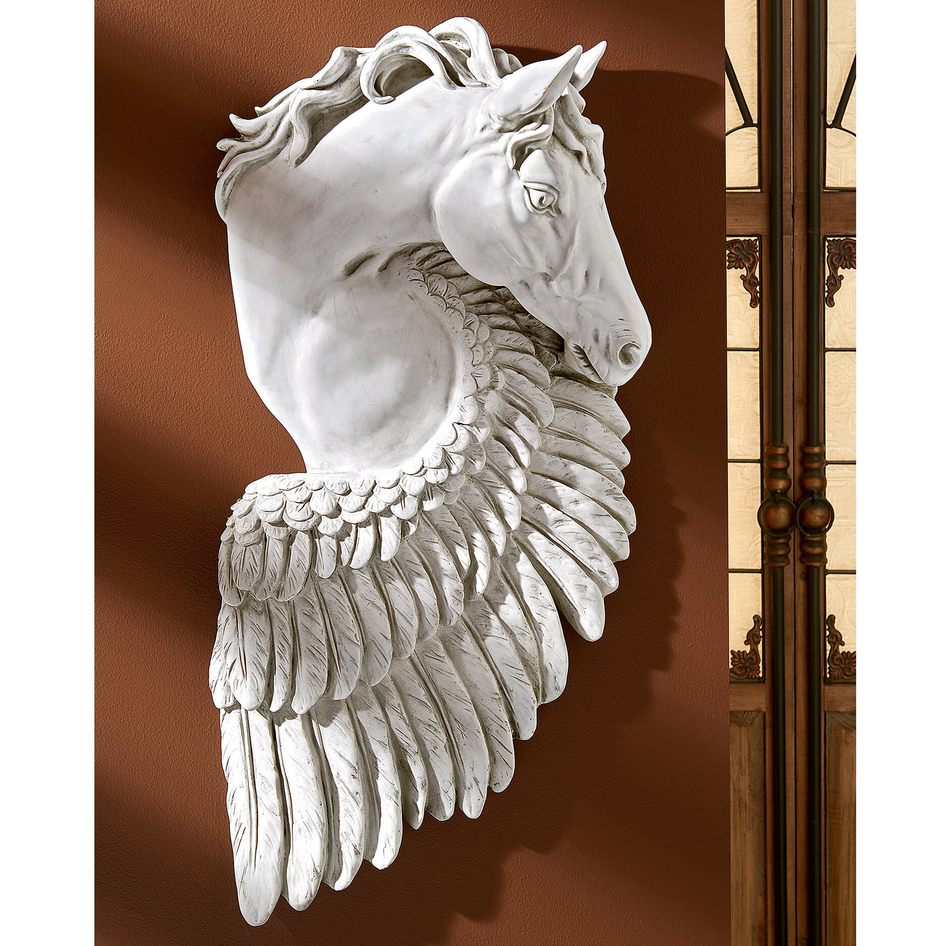 Design toscano wings of fury pegasus horse sculpture wall for Wings of fury