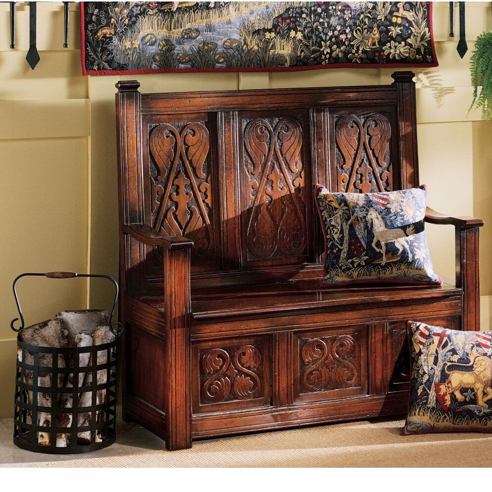 adorable entryway benche with storages | Design Toscano Historic Monk's Storage Wood Entryway Bench ...