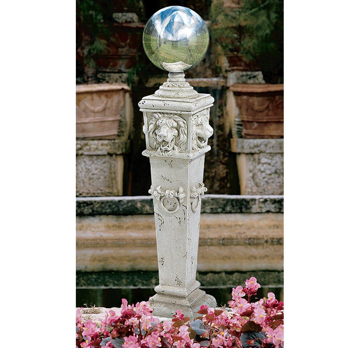 design toscano lion head gazing globe pillar garden statue reviews wayfair. Black Bedroom Furniture Sets. Home Design Ideas