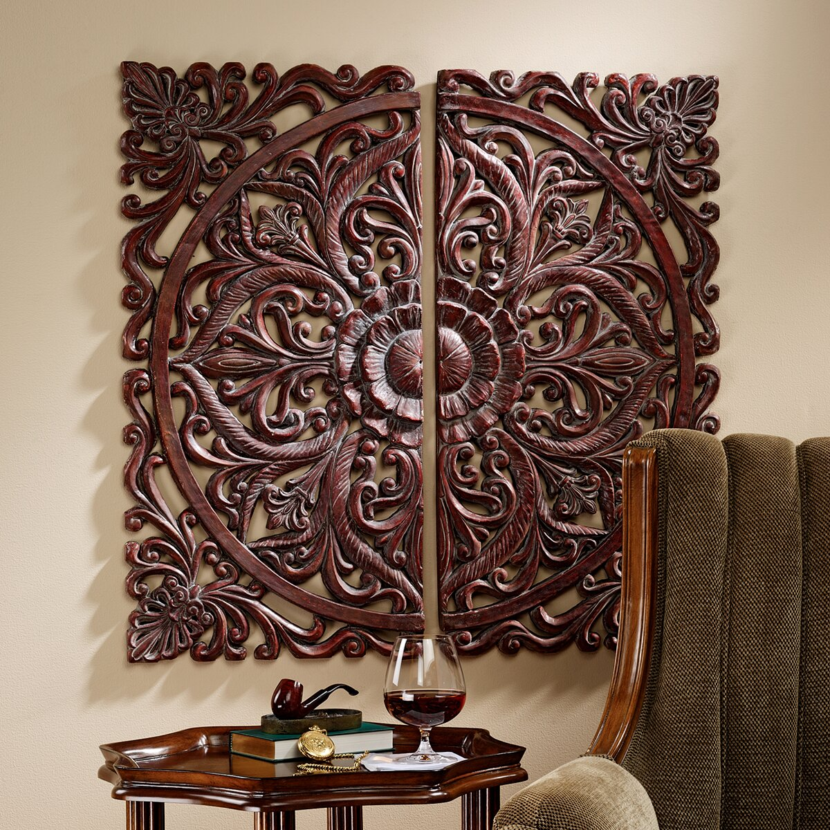 Design toscano piece carved rosette architectural wall
