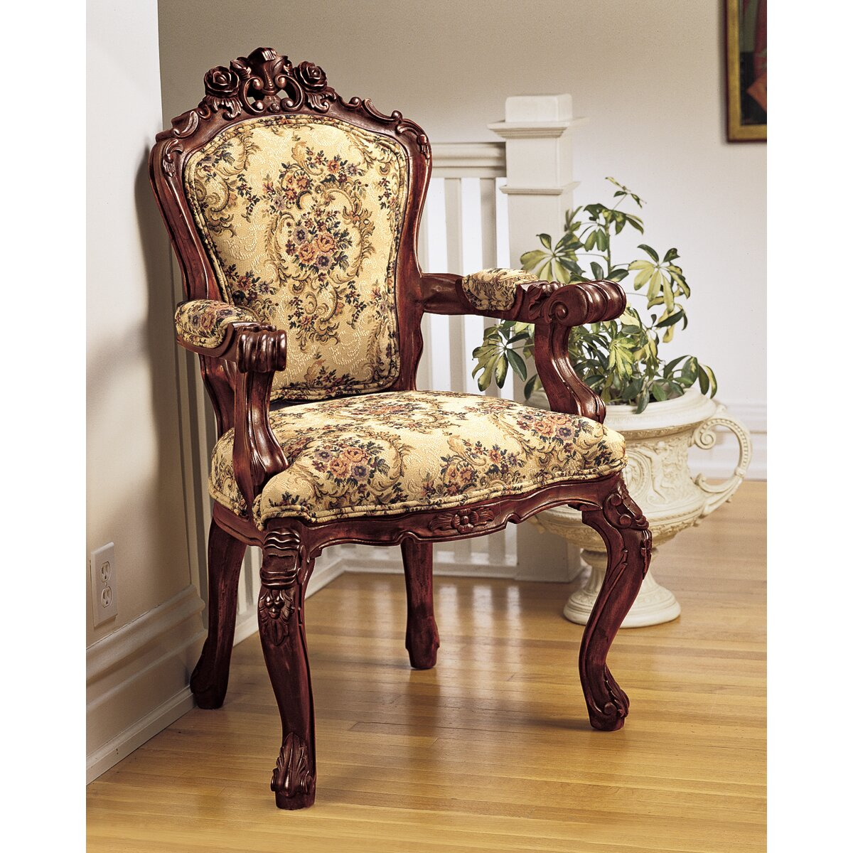 Design toscano carved rocaille fabric arm chair reviews for Wooden armchair designs