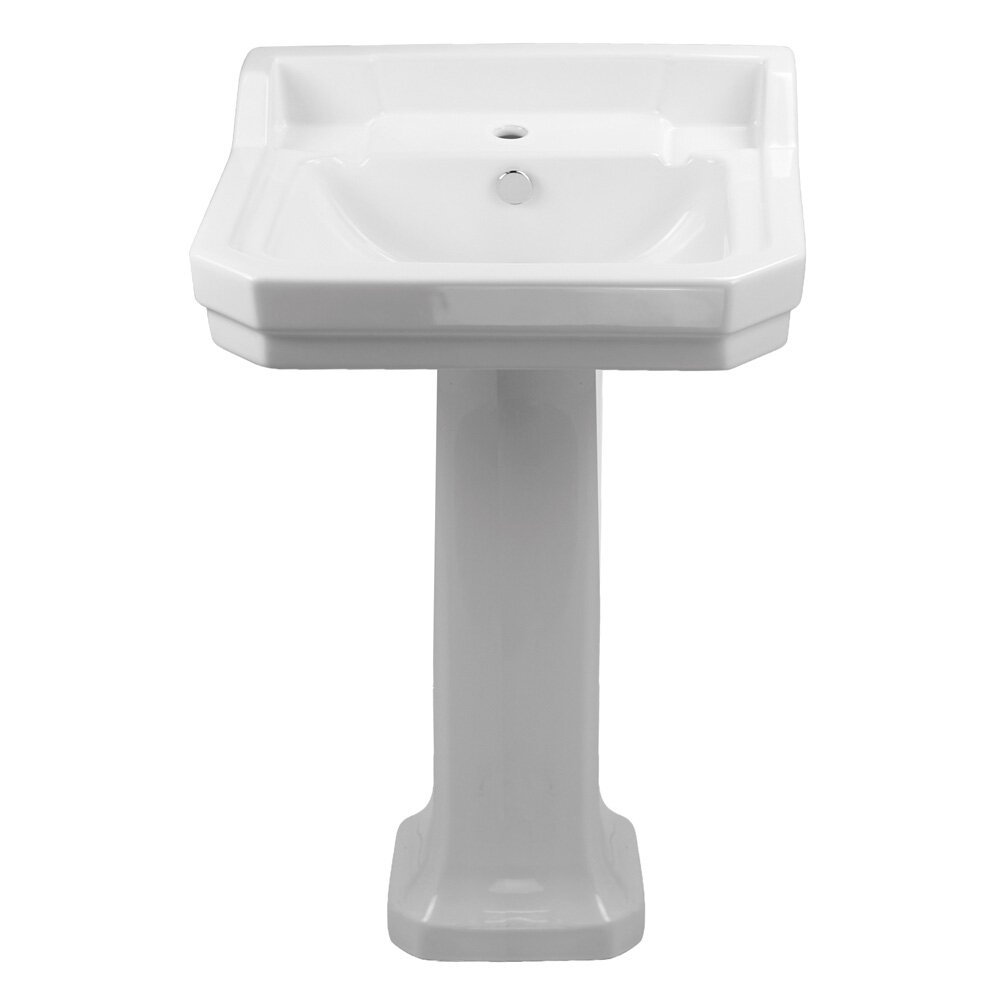 ... Bowl Pedestal Bathroom Sink with Overflow & Reviews Wayfair.ca