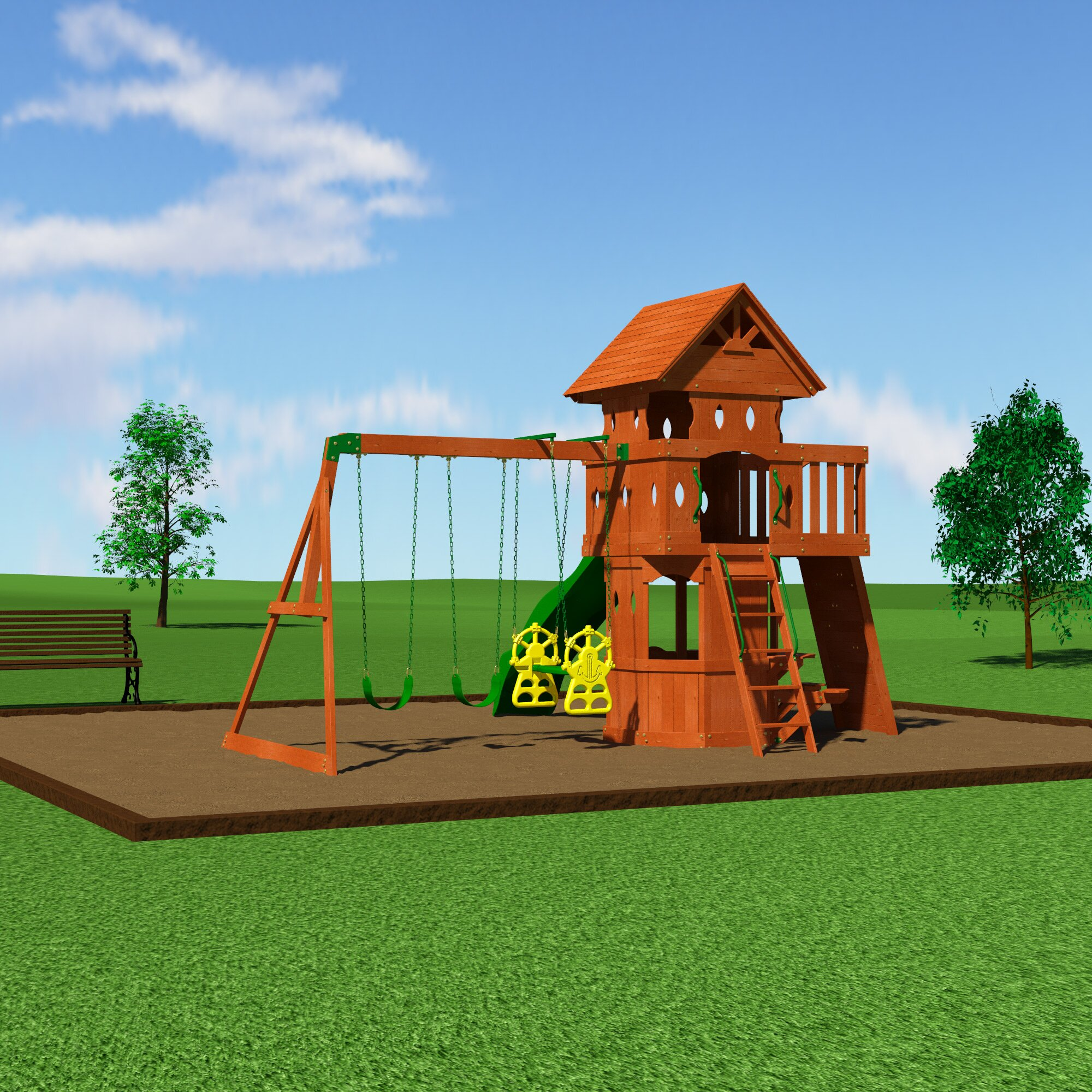 Backyard Discovery Woodland All Cedar Swing Set & Reviews ...
