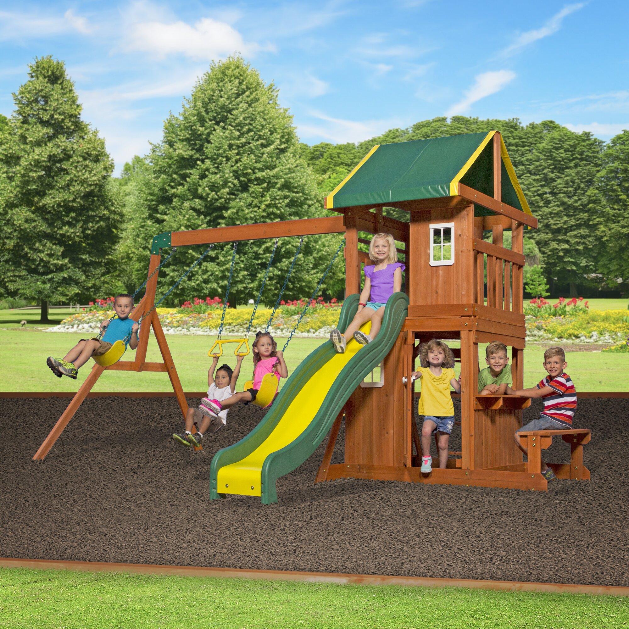 Backyard Discovery Oakmont All Cedar Swing Set & Reviews