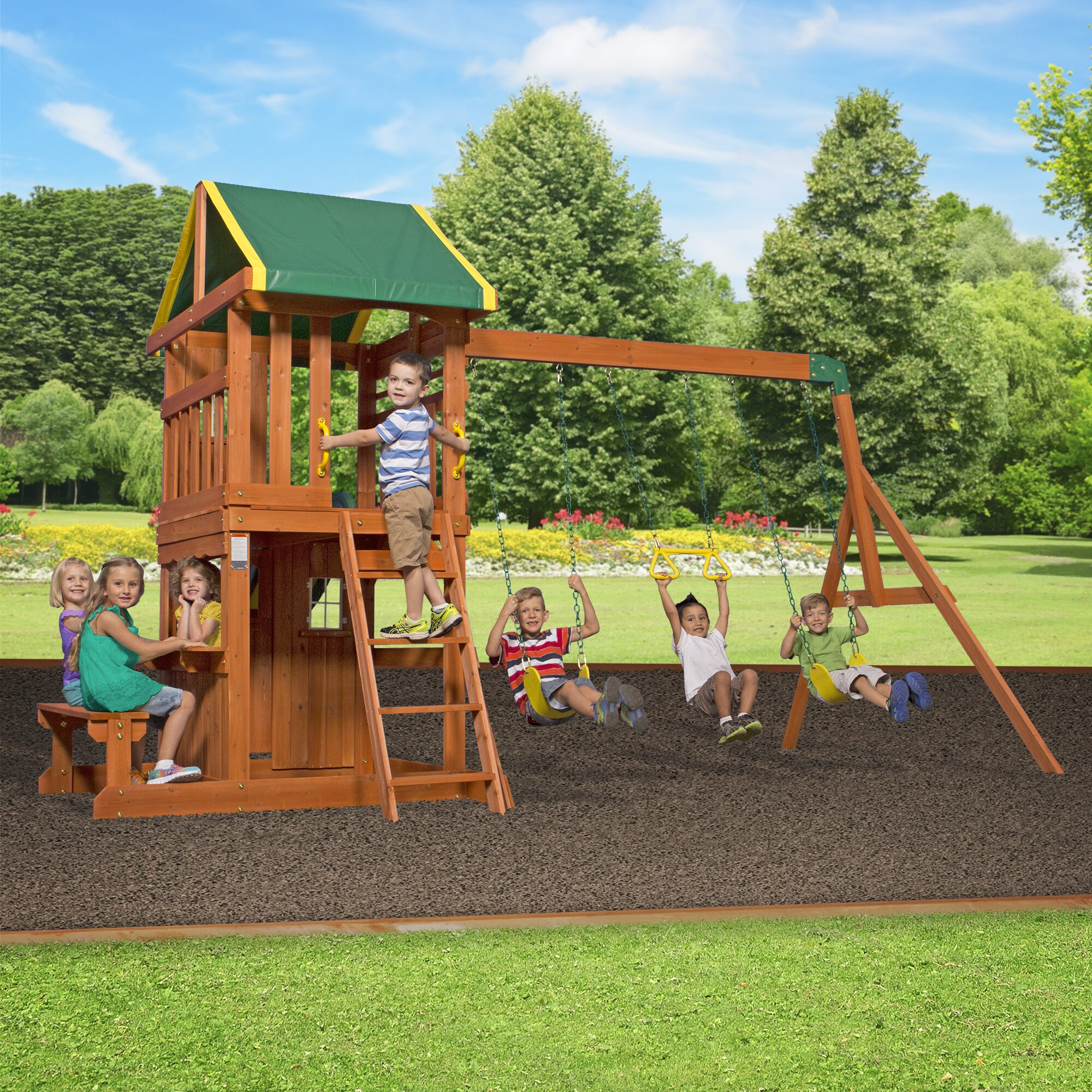 Backyard Discovery Oakmont All Cedar Swing Set & Reviews ...