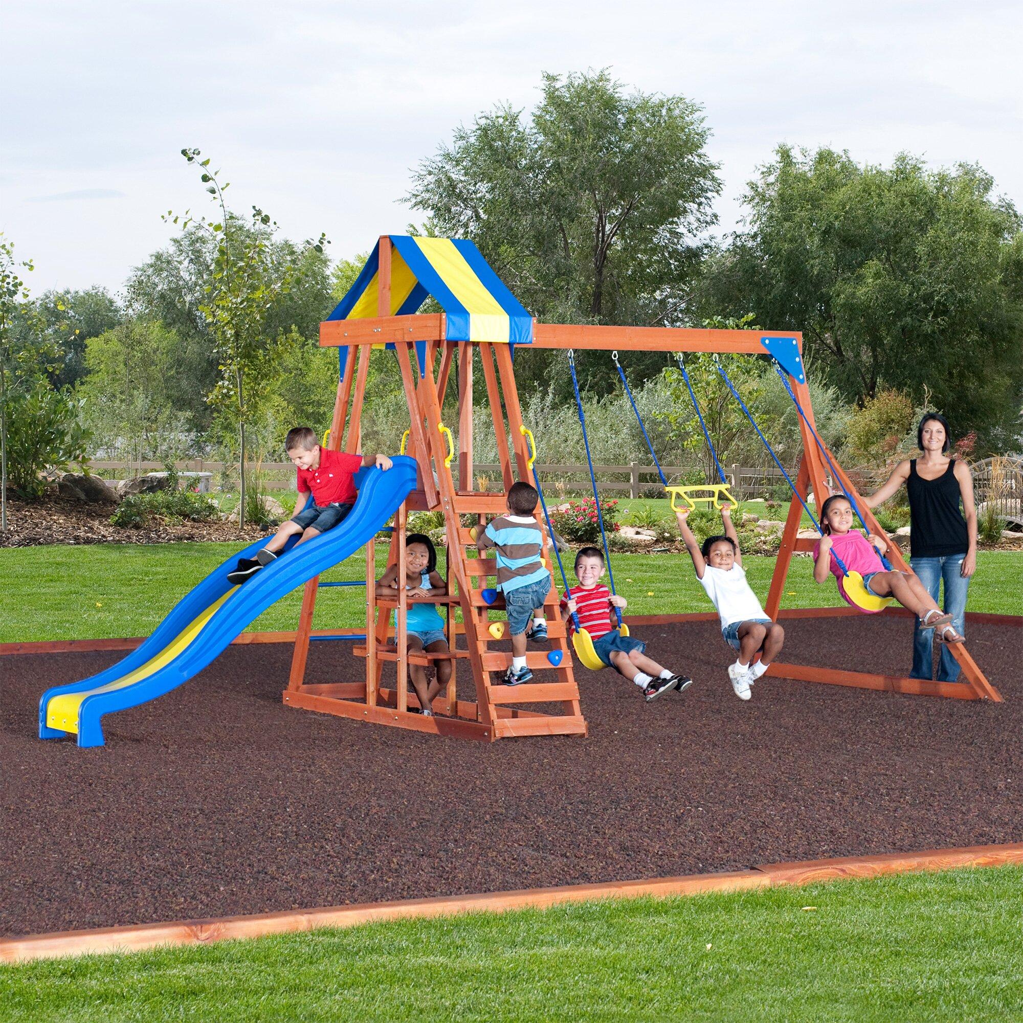 Backyard Swings: Backyard Discovery Yukon III All Cedar Wood Swing Set