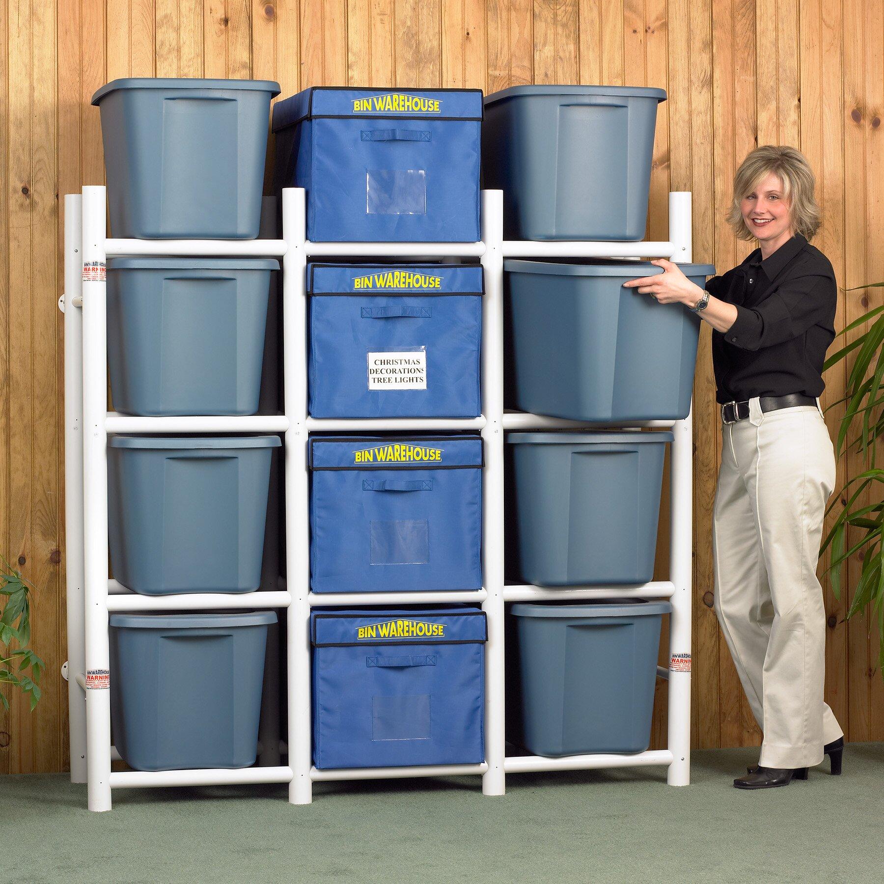 """craft ideas for garage sales - Bin Warehouse 12 Tote Storage System 69"""" H 4 Shelf"""