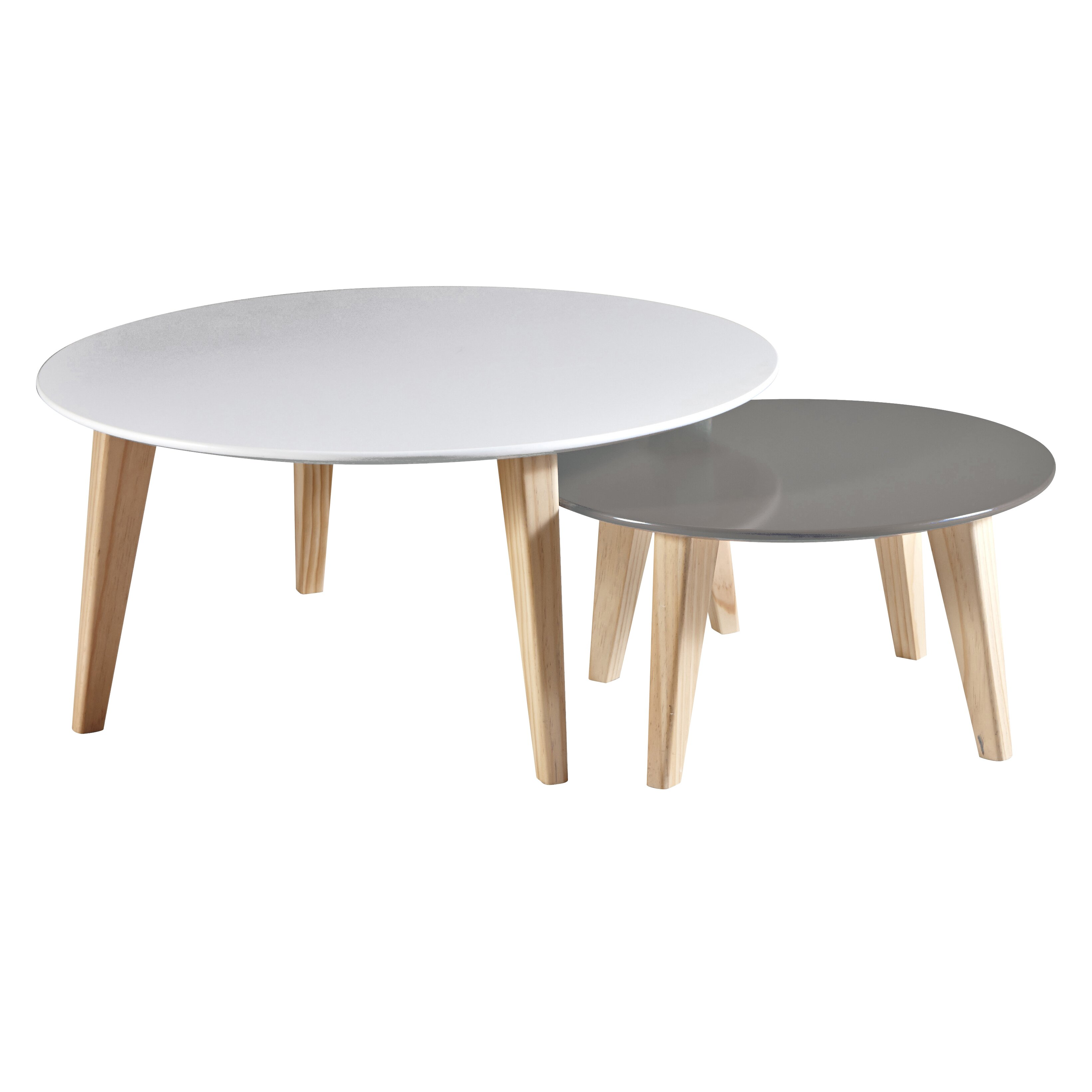 Demeyere round 2 piece coffee table set reviews wayfair uk for Table basse scandinave gigogne