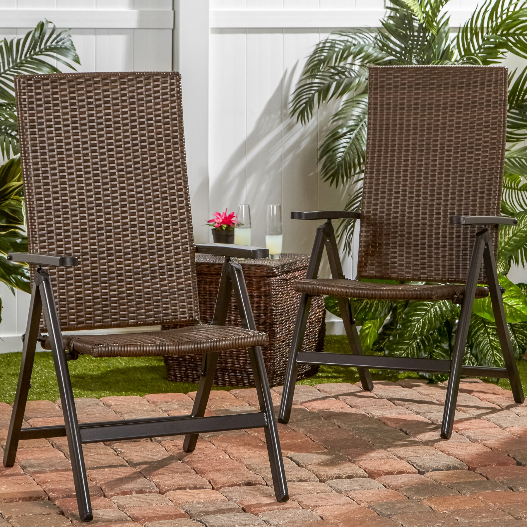 Greendale Home Fashions Wicker Outdoor Reclining Zero