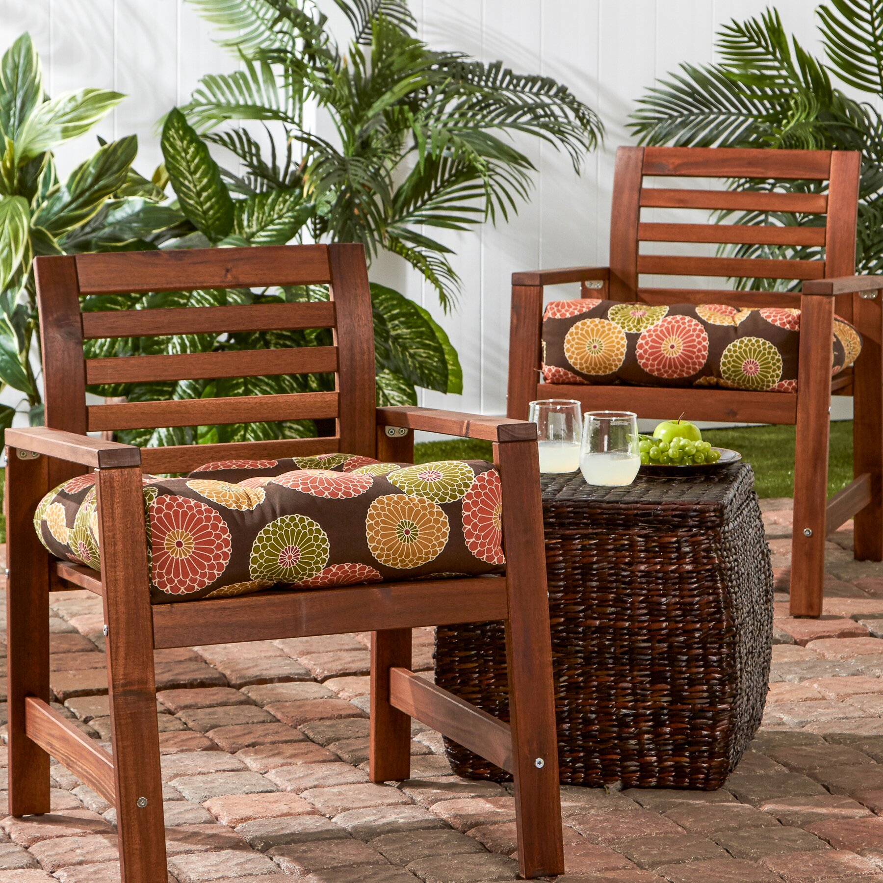 greendale home fashions outdoor dining chair cushion wayfair. Black Bedroom Furniture Sets. Home Design Ideas