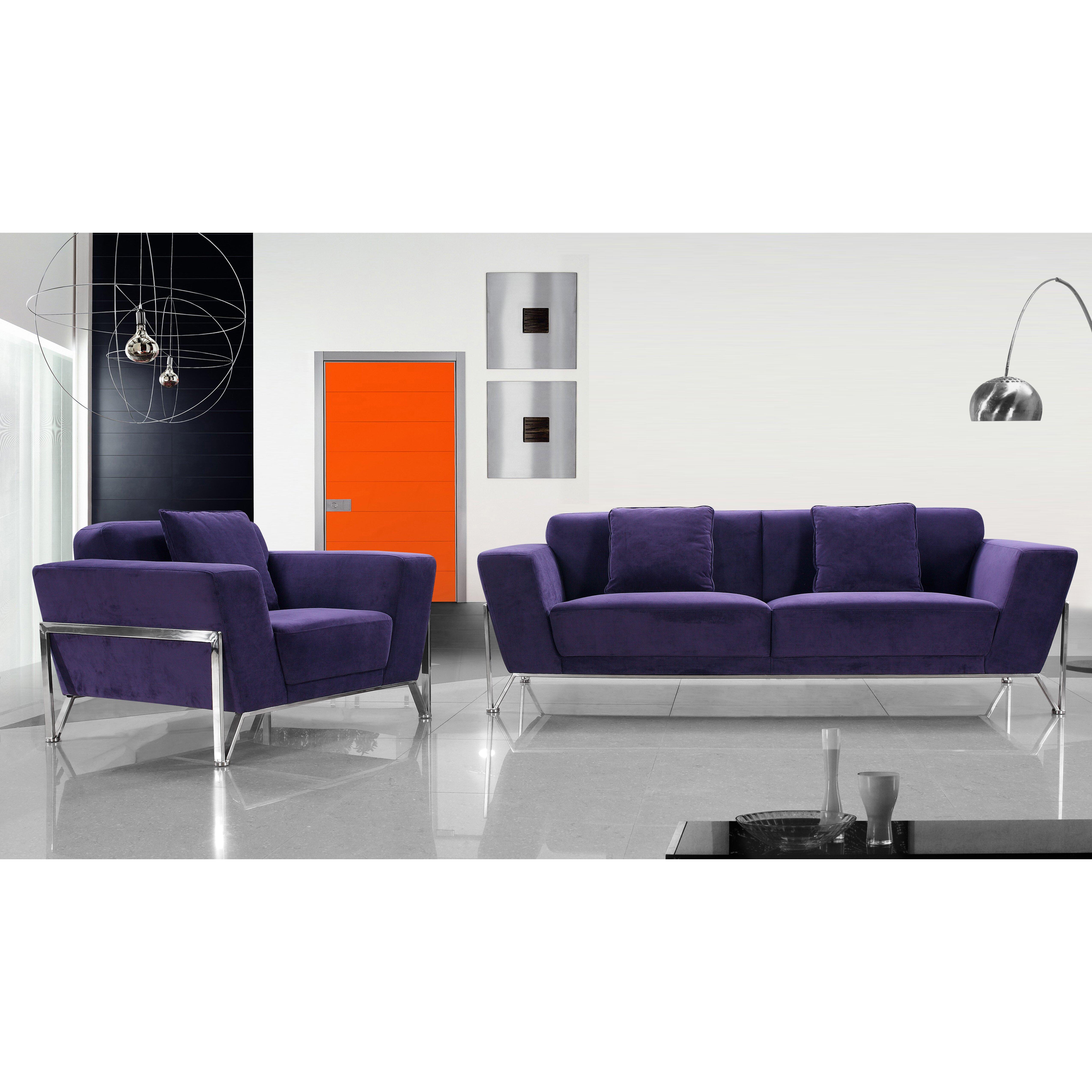 Vig furniture divani casa loveseat and chair wayfair for Divani recliner