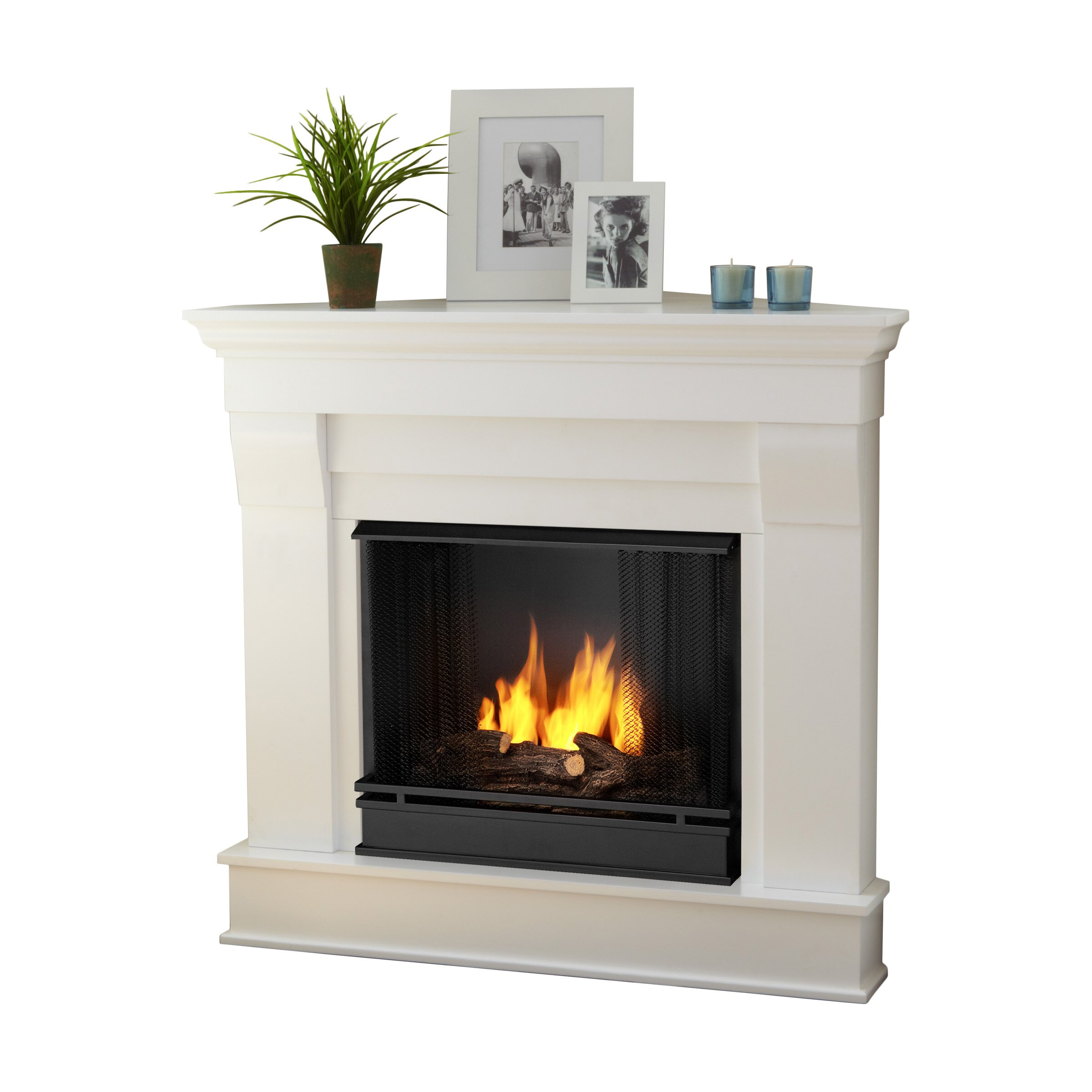 real flame chateau corner gel fuel fireplace reviews wayfair. Black Bedroom Furniture Sets. Home Design Ideas
