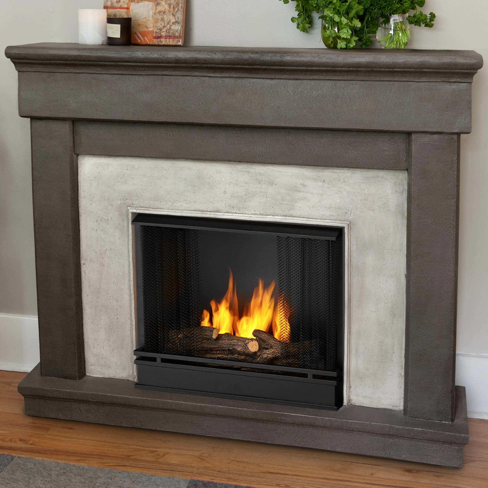 Real Flame Cast Mantel Cascade Wall Mount Gel Fuel Fireplace Wayfair