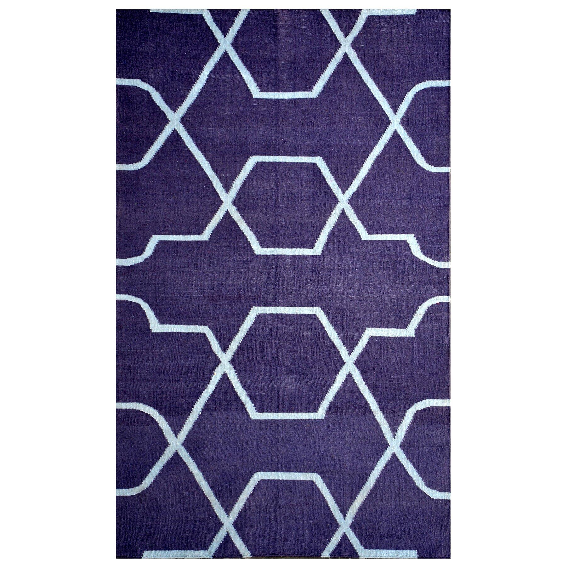 Meva rugs thai 01 blue indoor outdoor area rug wayfair for Blue indoor outdoor rug