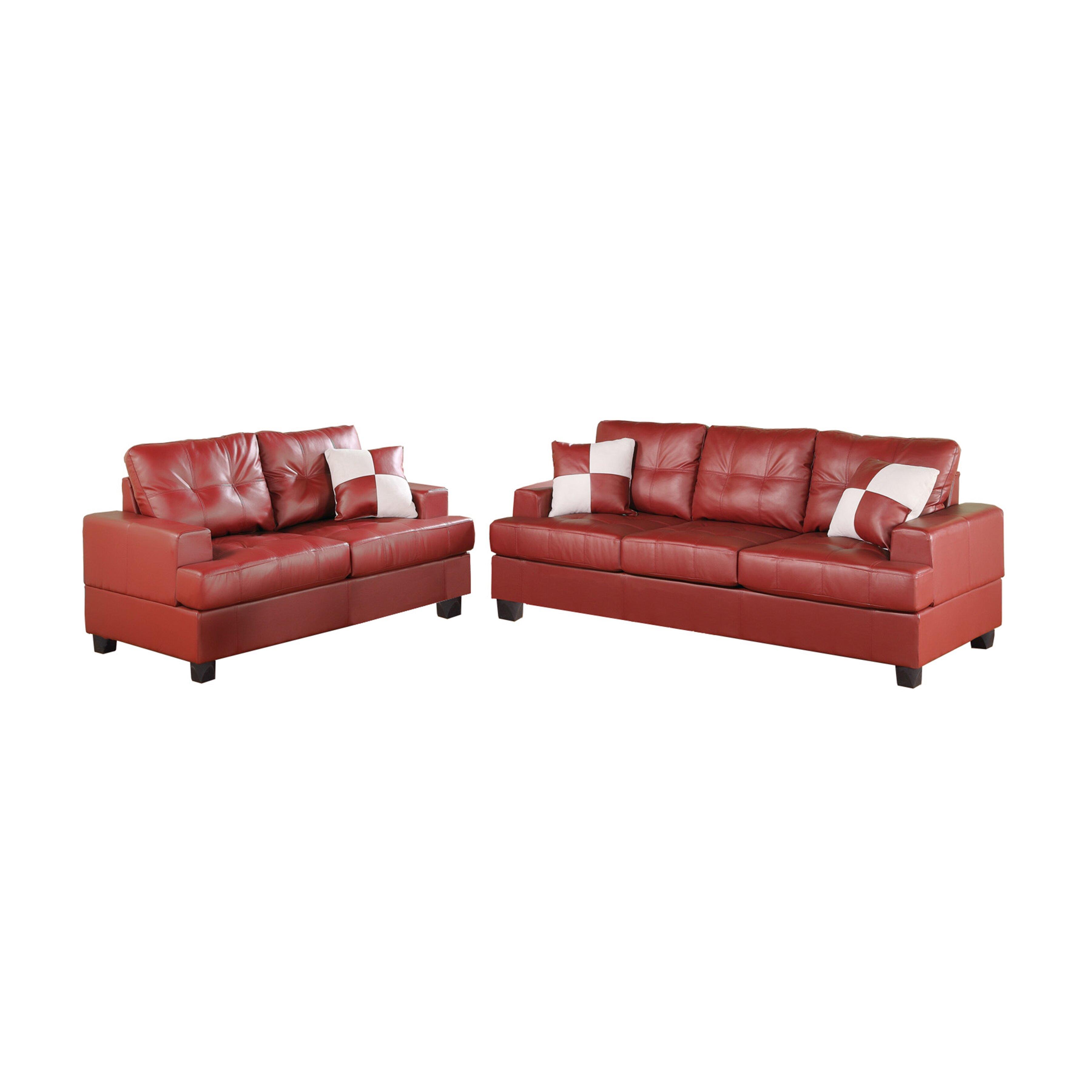 Poundex Bobkona Sherman Sofa And Loveseat Set Reviews Wayfair