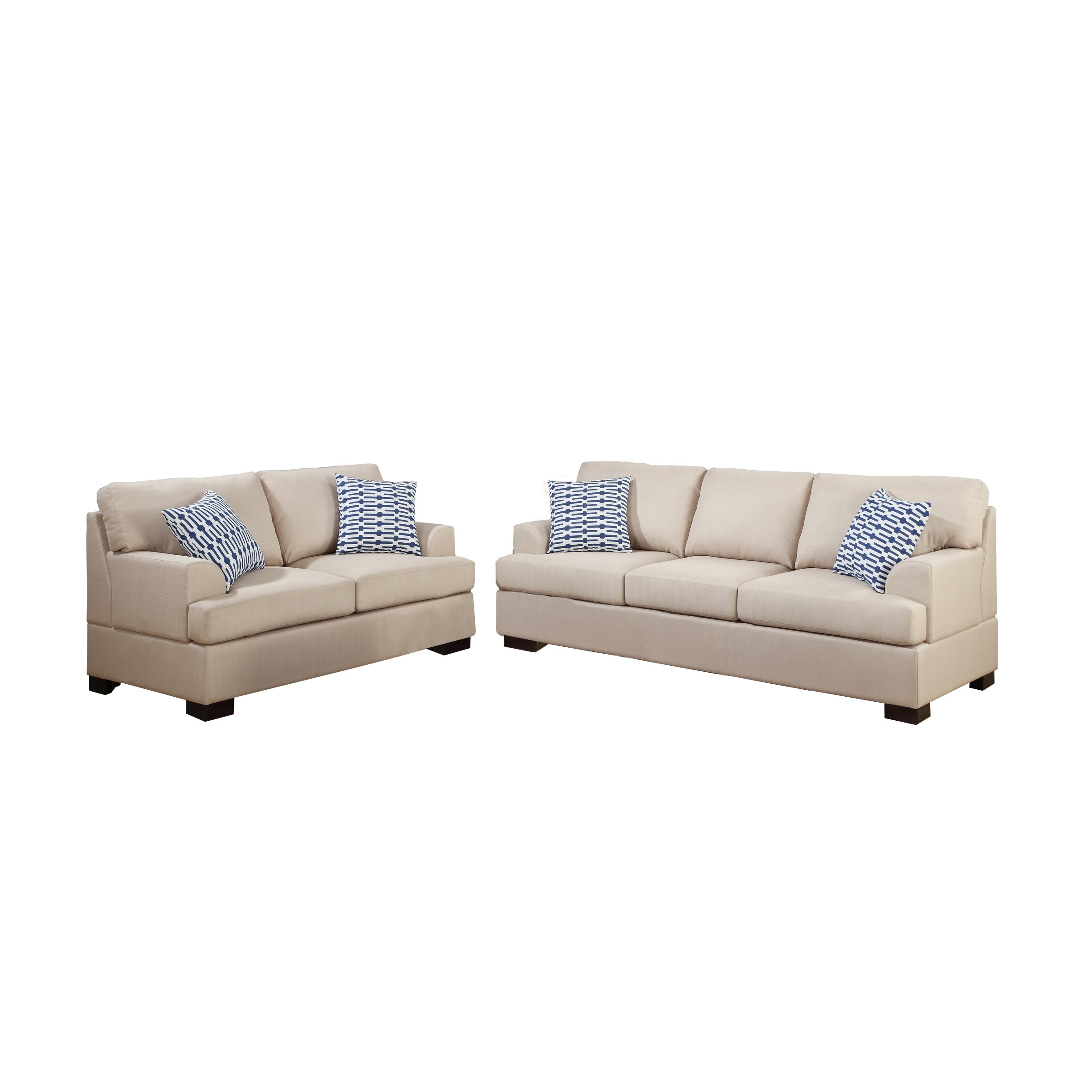 Poundex bobkona montega microfiber sofa and loveseat set reviews wayfair supply Microfiber sofa and loveseat set