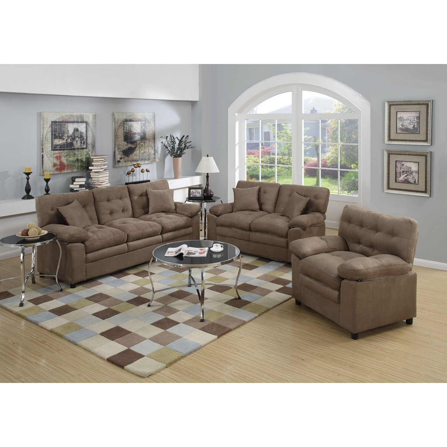 Poundex bobkona colona 3 piece living room set reviews for Family room furniture