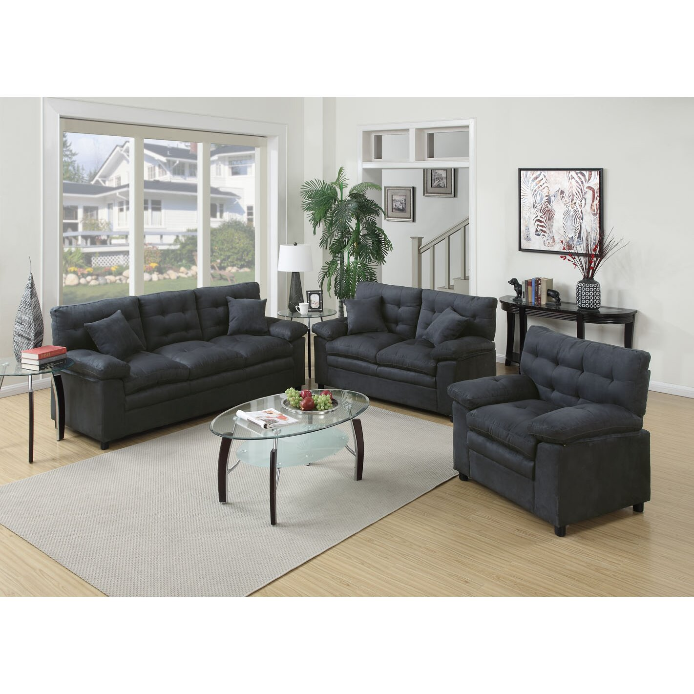 Poundex bobkona colona 3 piece living room set reviews for Fitting furniture in small living room