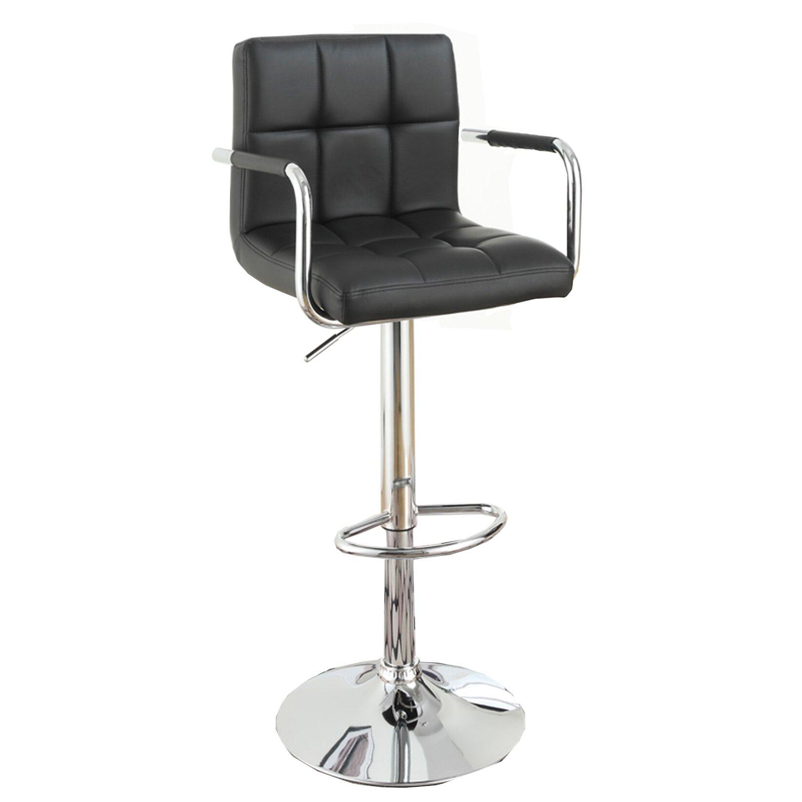 Poundex adjustable height swivel bar stool reviews wayfair for Adjustable height bar stools
