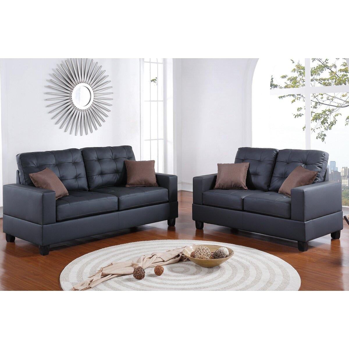 Poundex bobkona aria 2 piece sofa and loveseat set for 2 piece furniture set