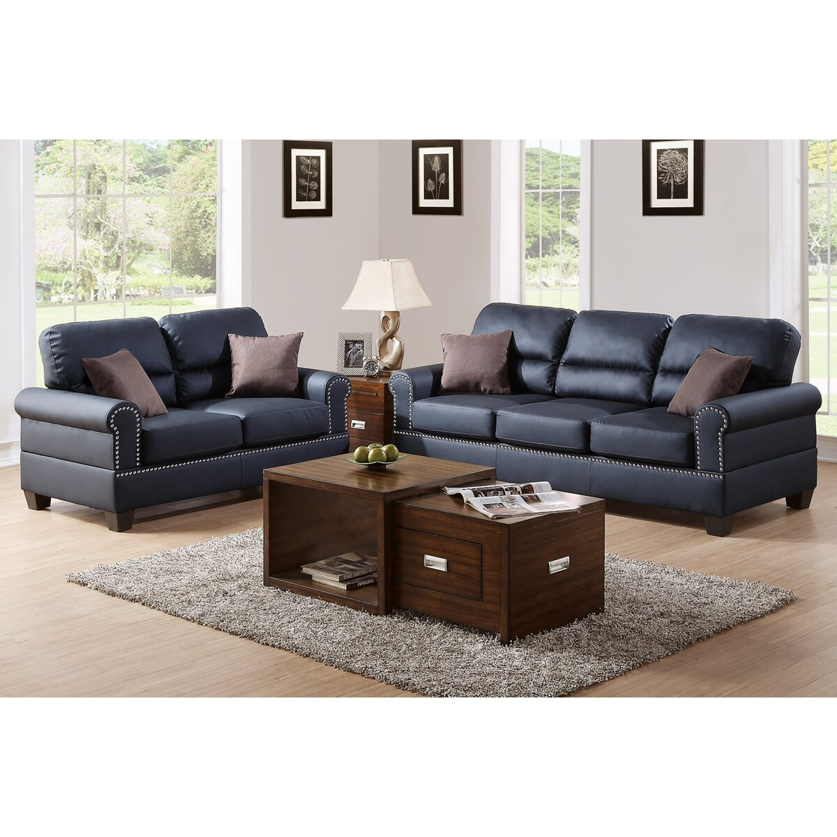 Poundex bobkona shelton 2 piece sofa and loveseat set for Drawing room furniture set