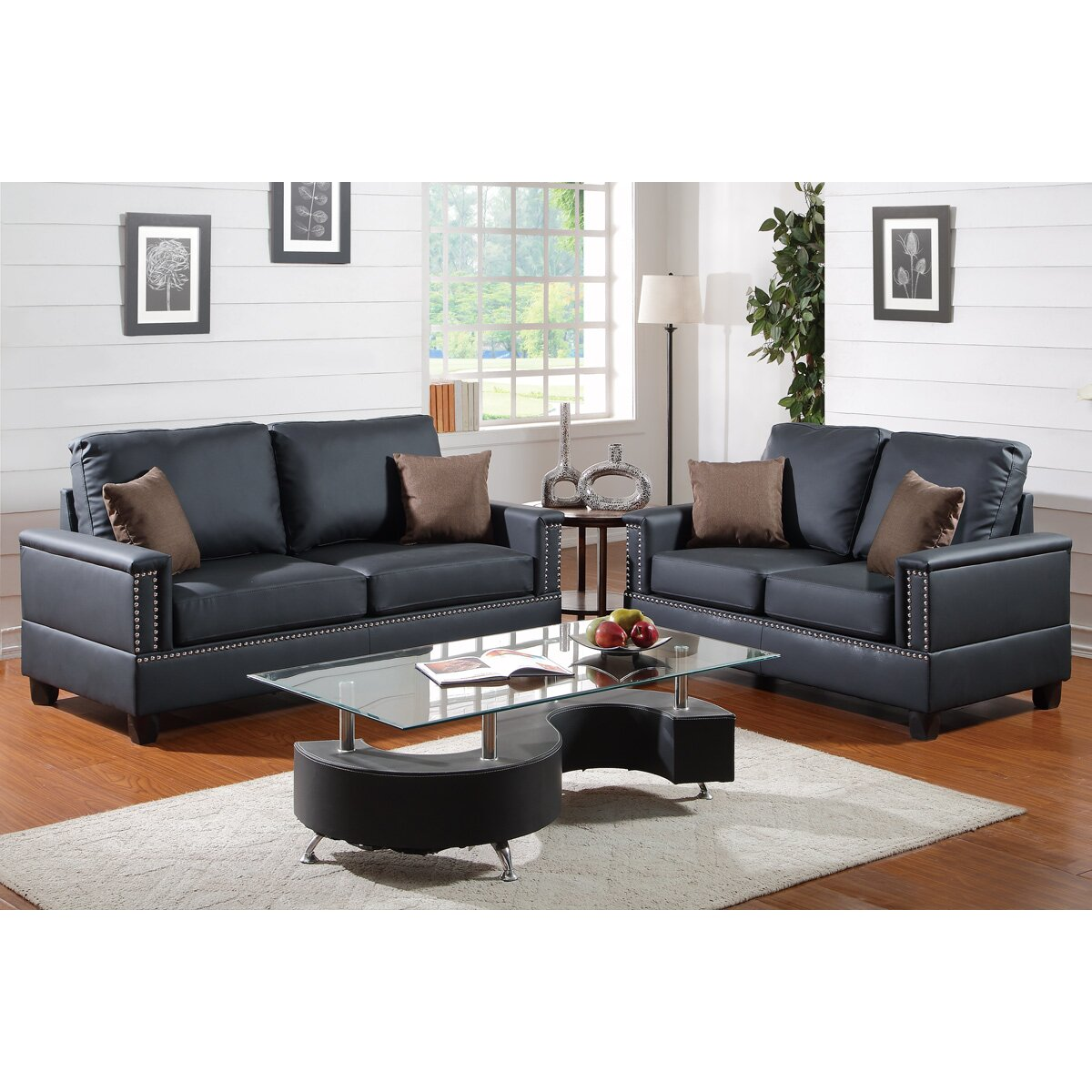 Poundex bobkona norris 2 piece sofa and loveseat set for 2 piece furniture set