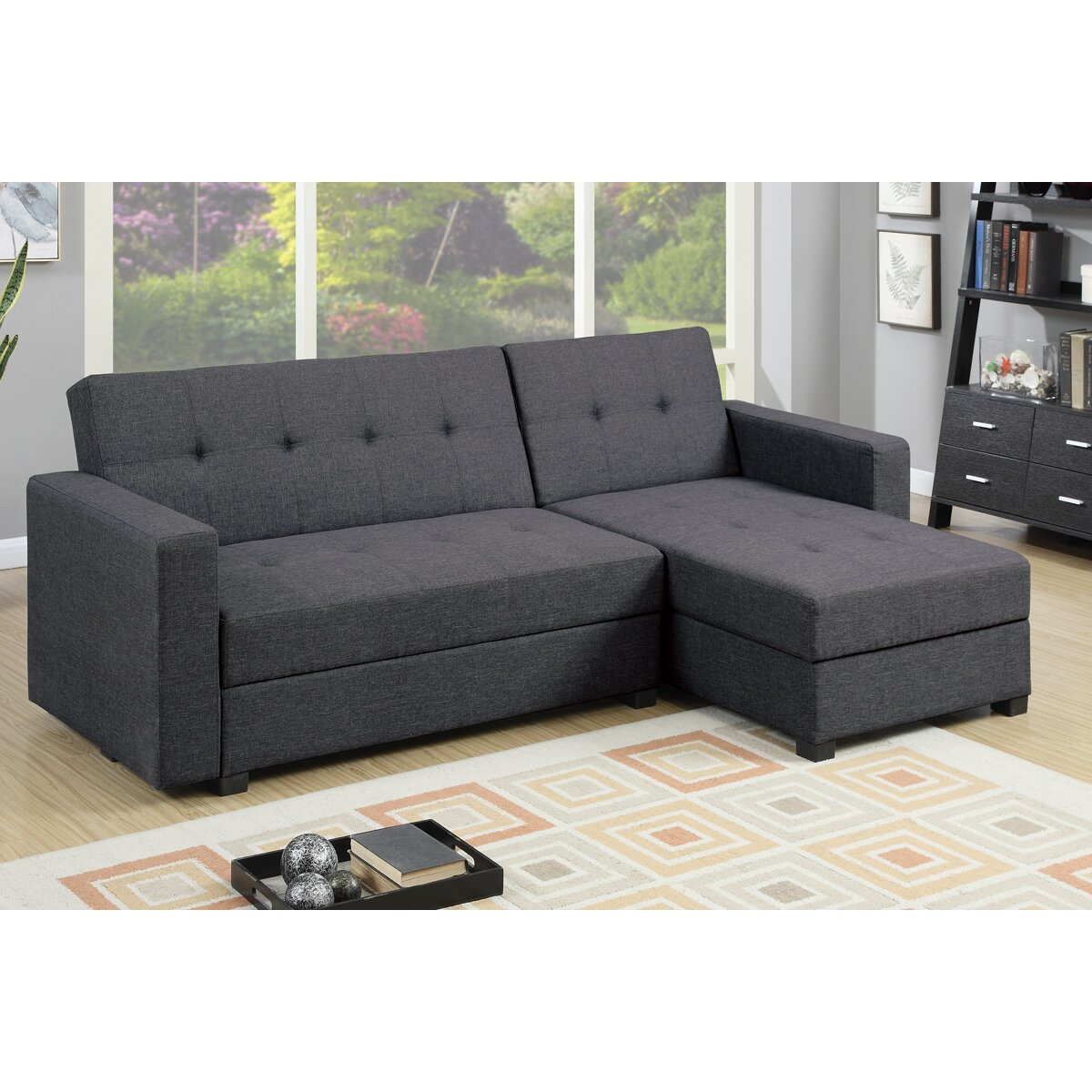 Poundex Sectional White Leather Sofa Chaise: Poundex Bobkona Medora Reversible Chaise Sectional