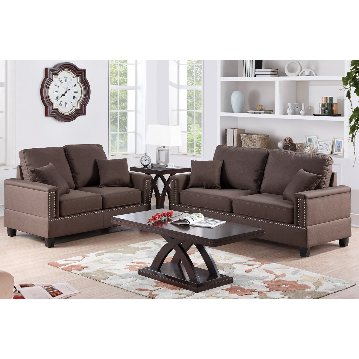 Poundex bobkona norris 2 piece sofa and loveseat set wayfair for 2 piece furniture set