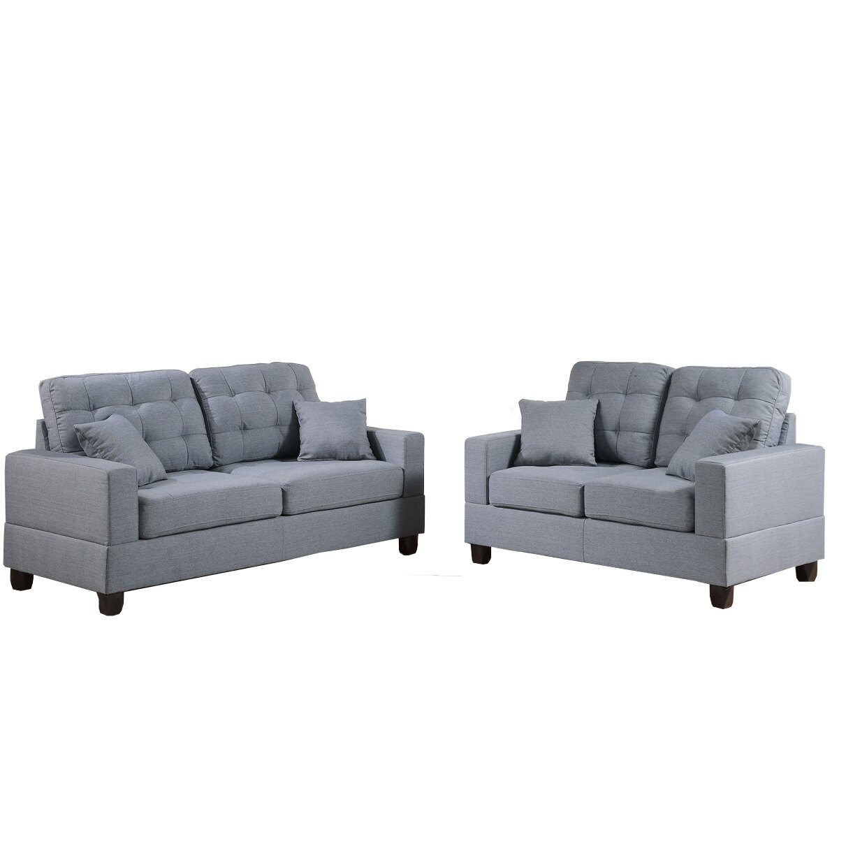 Poundex bobkona aria sofa and loveseat set reviews wayfair for Couch and loveseat