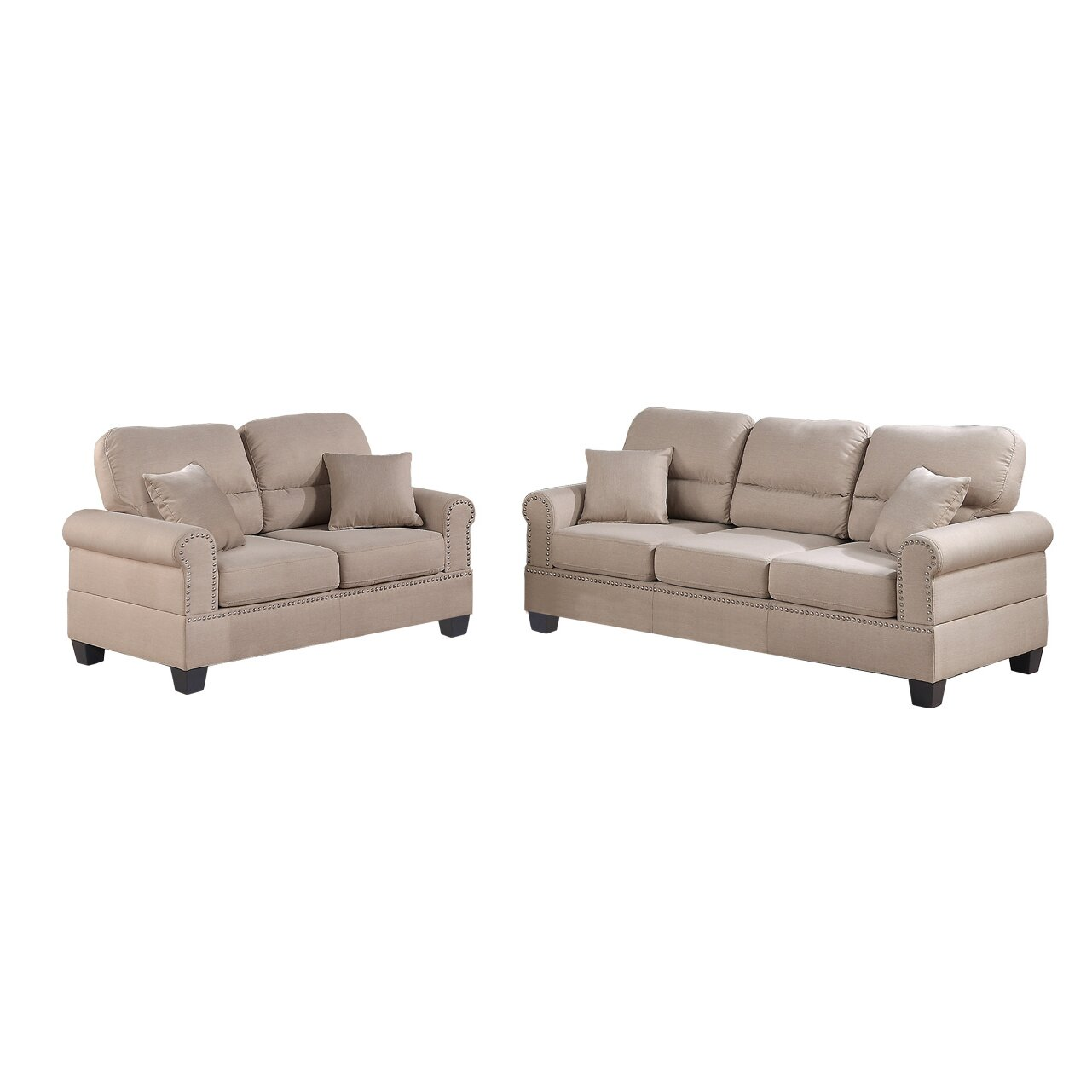 Poundex Bobkona Shelton Sofa And Loveseat Set Reviews