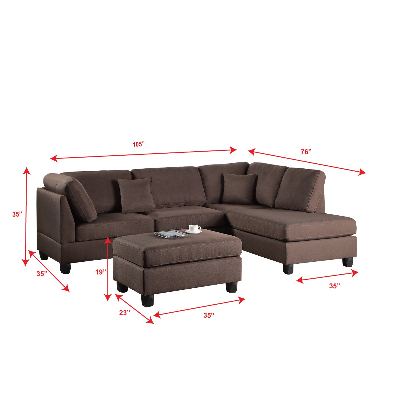 Poundex bobkona dervon reversible chaise sectional for Chaise and ottoman