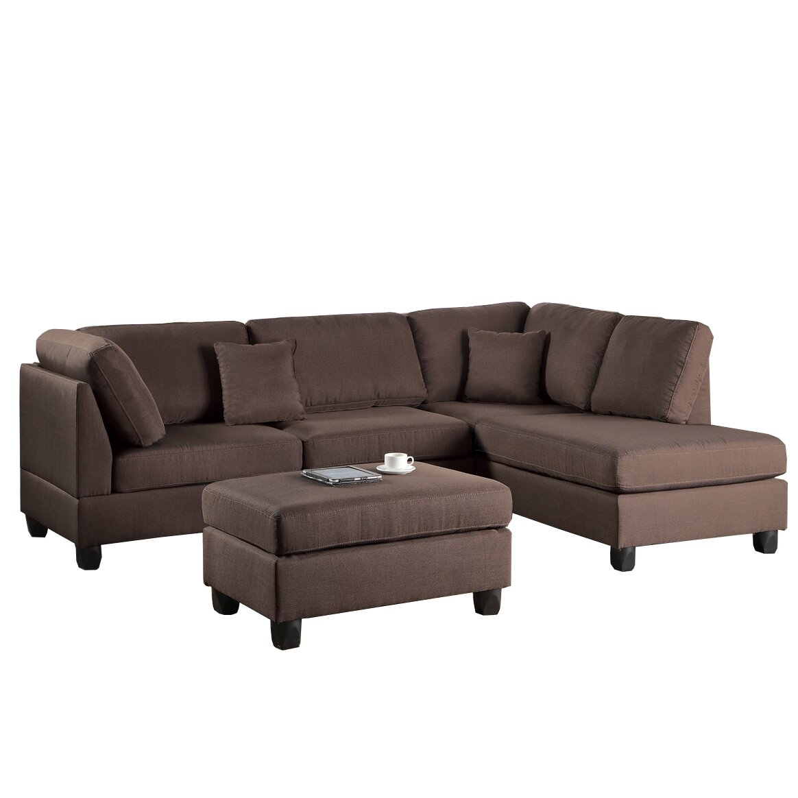 Poundex bobkona dervon reversible chaise sectional for Wayfair sectionals