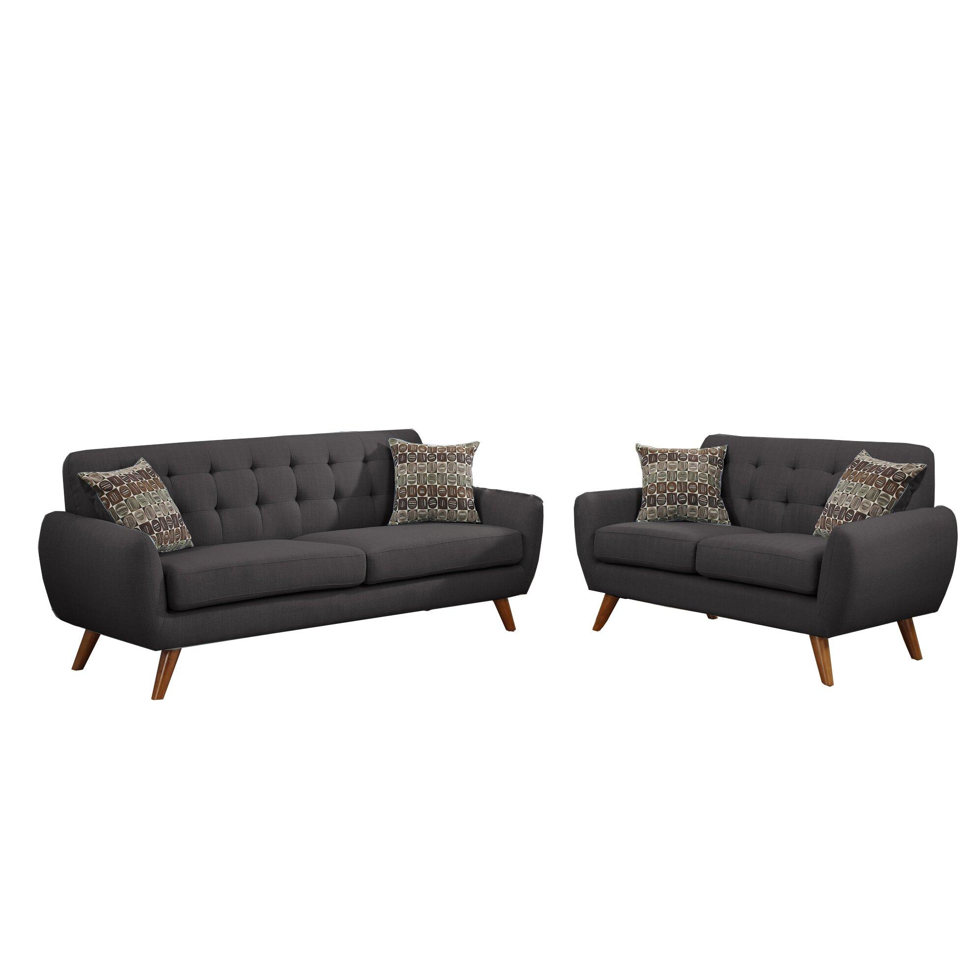 Poundex bobkona sonya 2 piece sofa and loveseat set for Bobkona atlantic 2 piece sectional sofa