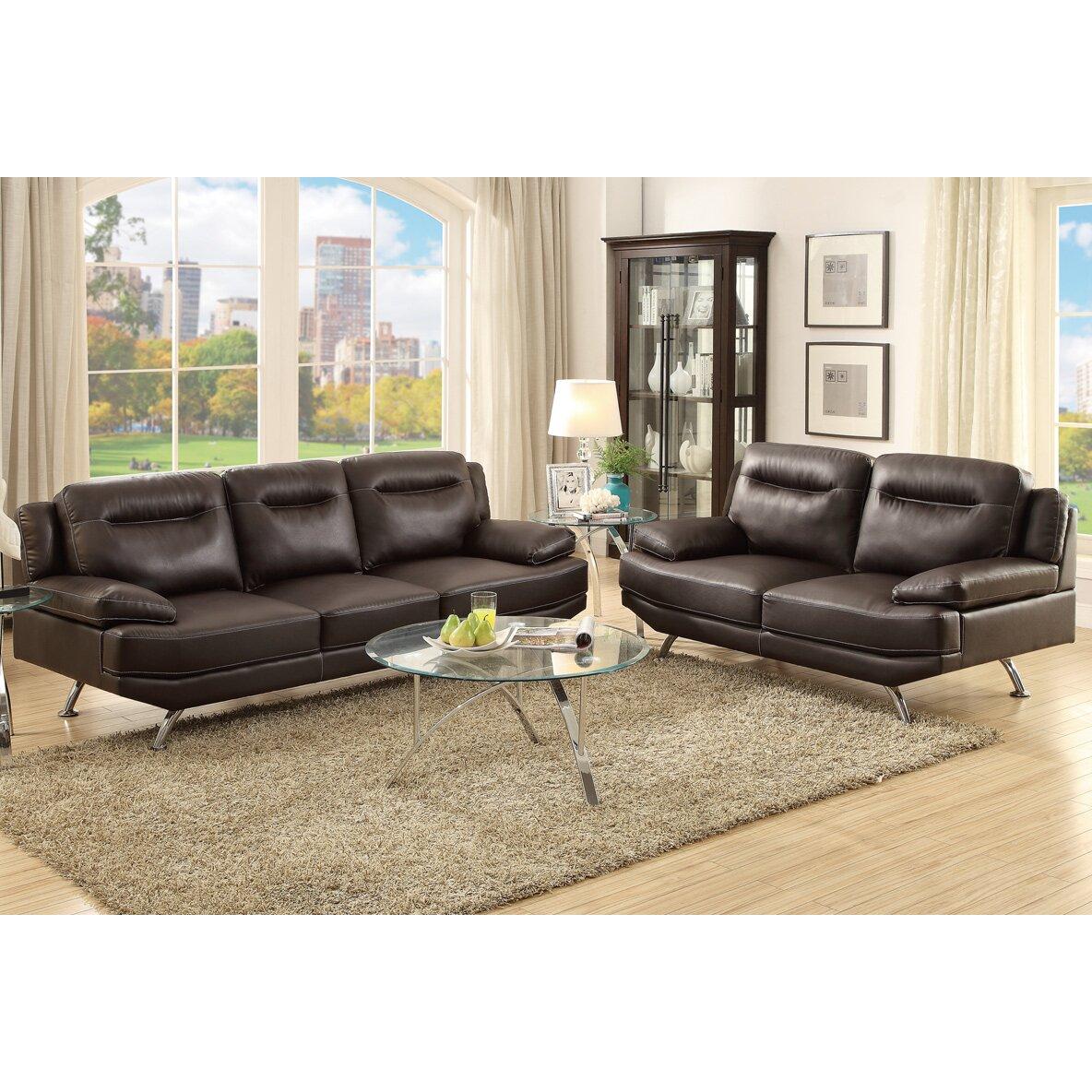 Poundex bobkona danville 2 piece sofa and loveseat set for 2 piece sofa set