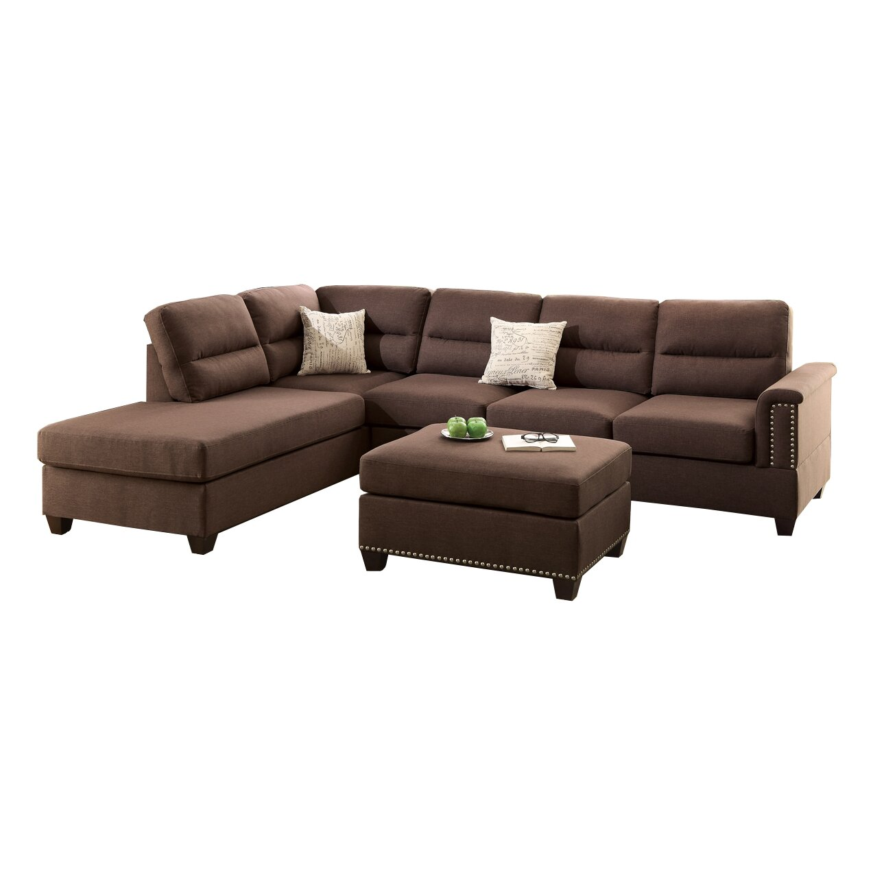 Poundex Bobkona Toffy Reversible Chaise Sectional