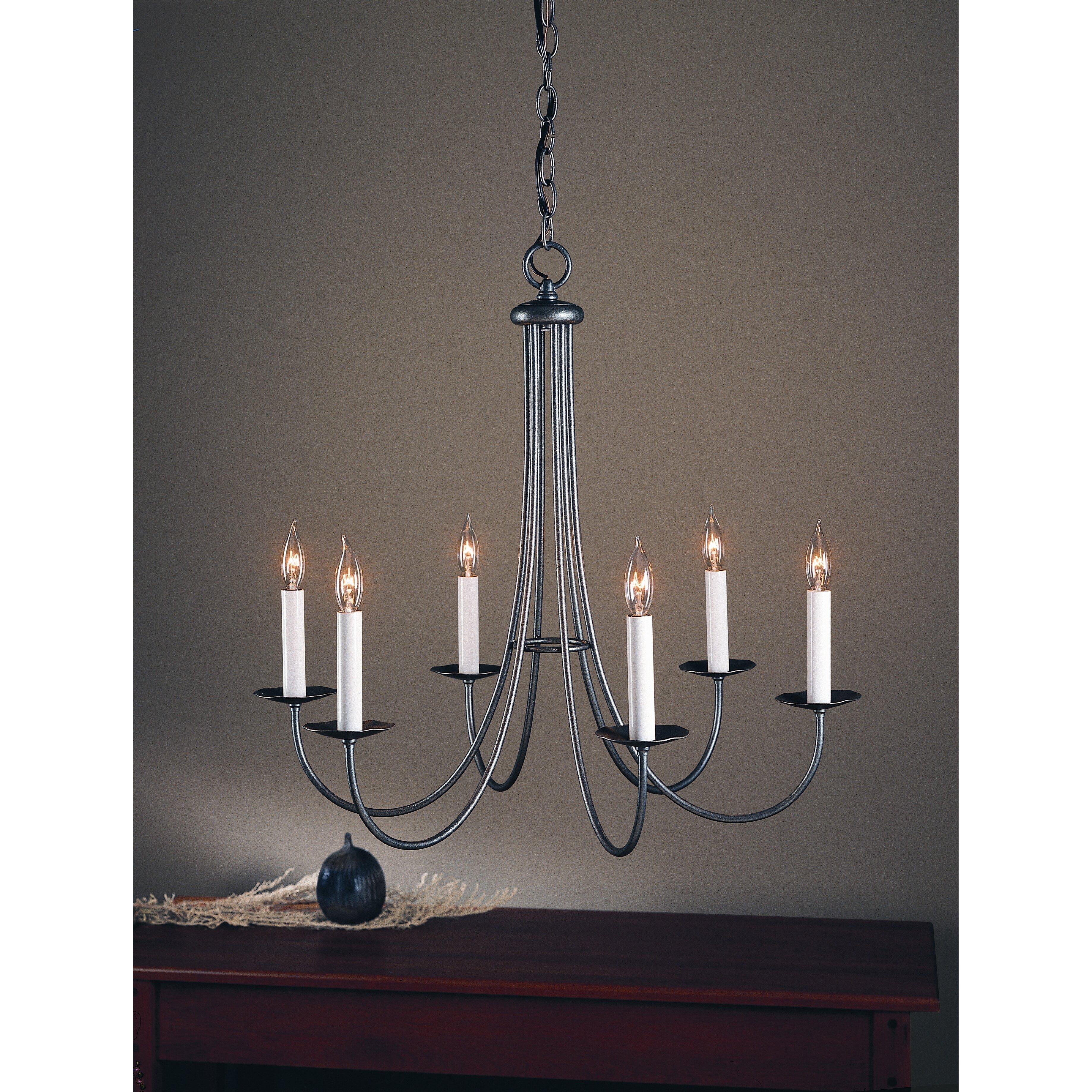 Hubbardton forge simple sweep 6 light chandelier reviews wayfair for Hubbardton forge bathroom lighting
